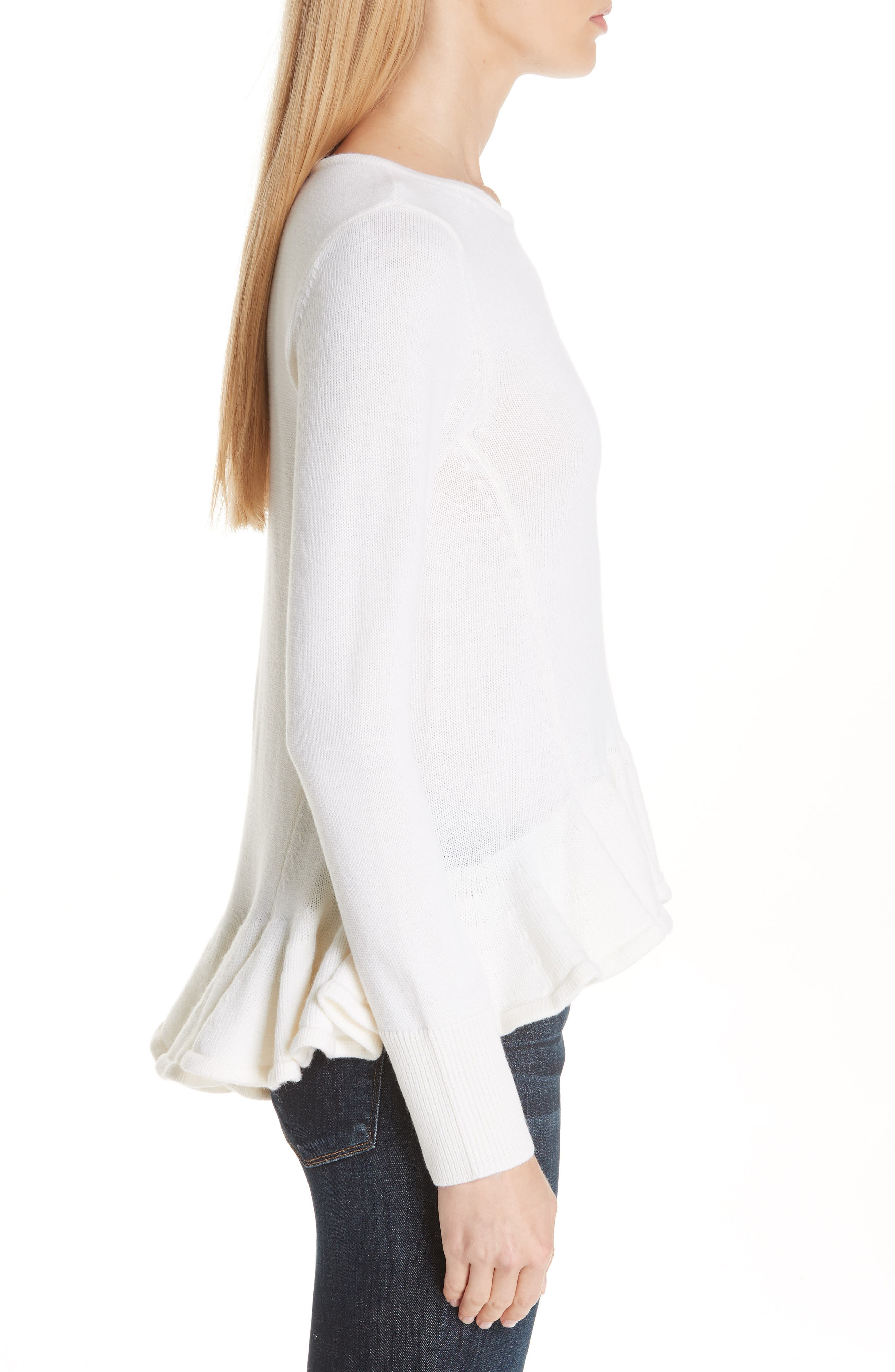 Ruffle Peplum Wool Sweater,                             Alternate thumbnail 3, color,                             IVORY