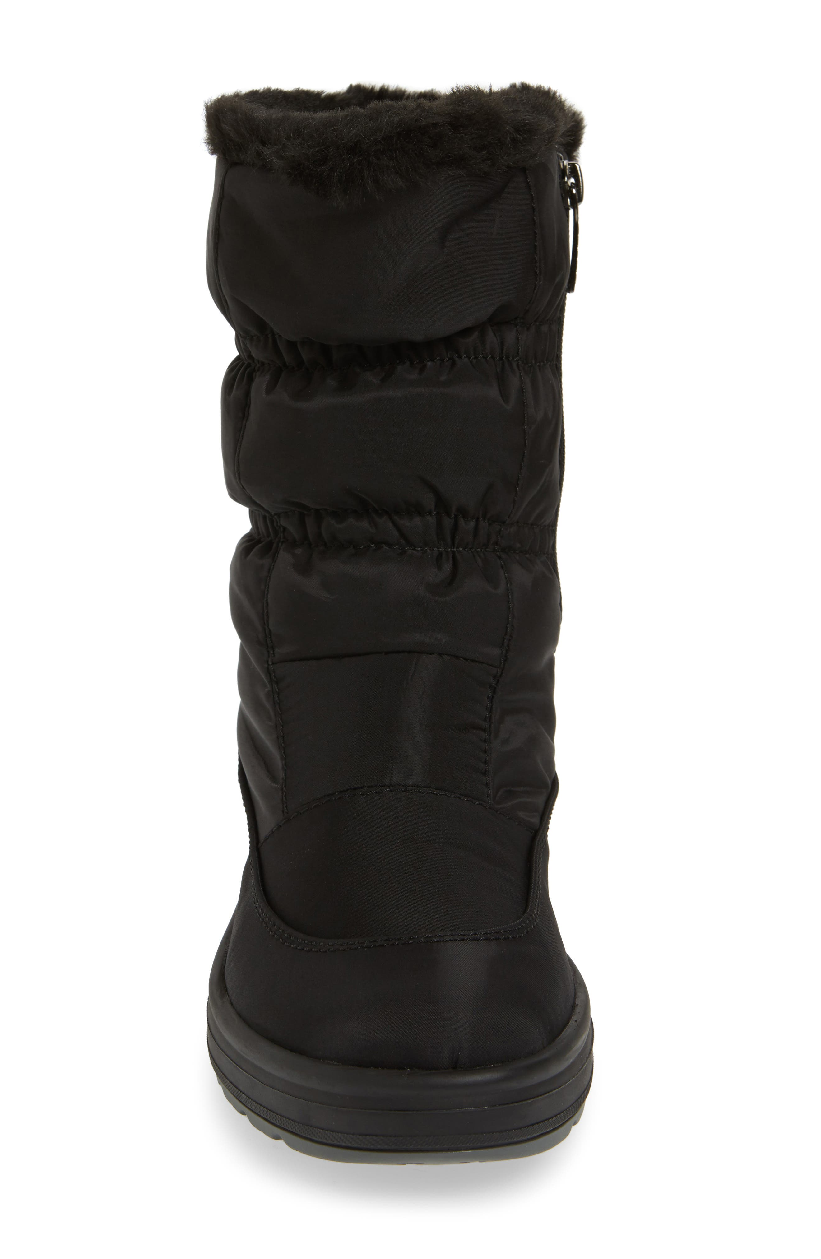 Snowcap Waterproof Insulated Winter Boot,                             Alternate thumbnail 4, color,                             BLACK FABRIC