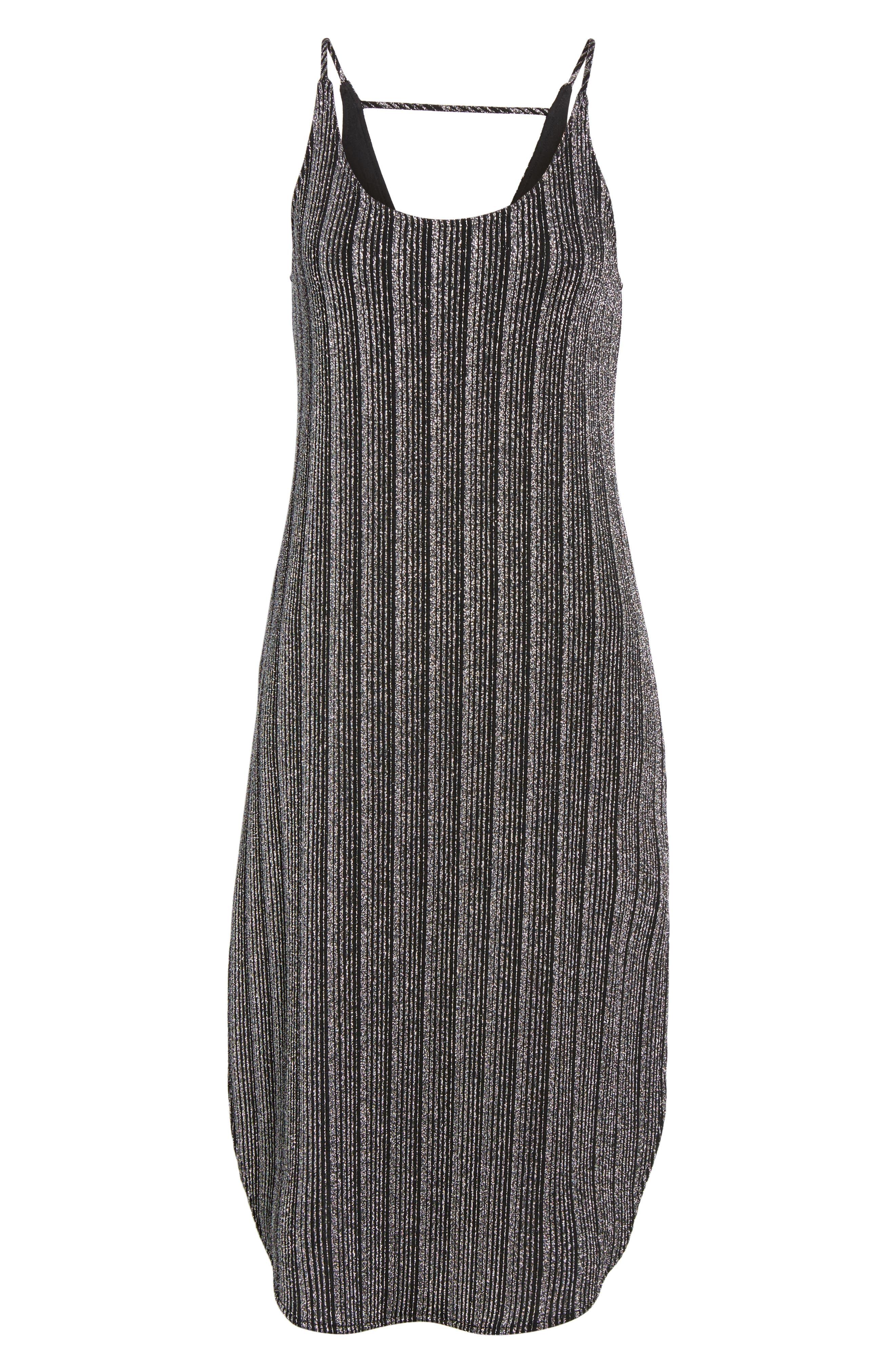 Metallic Ribbed Midi Dress,                             Alternate thumbnail 6, color,