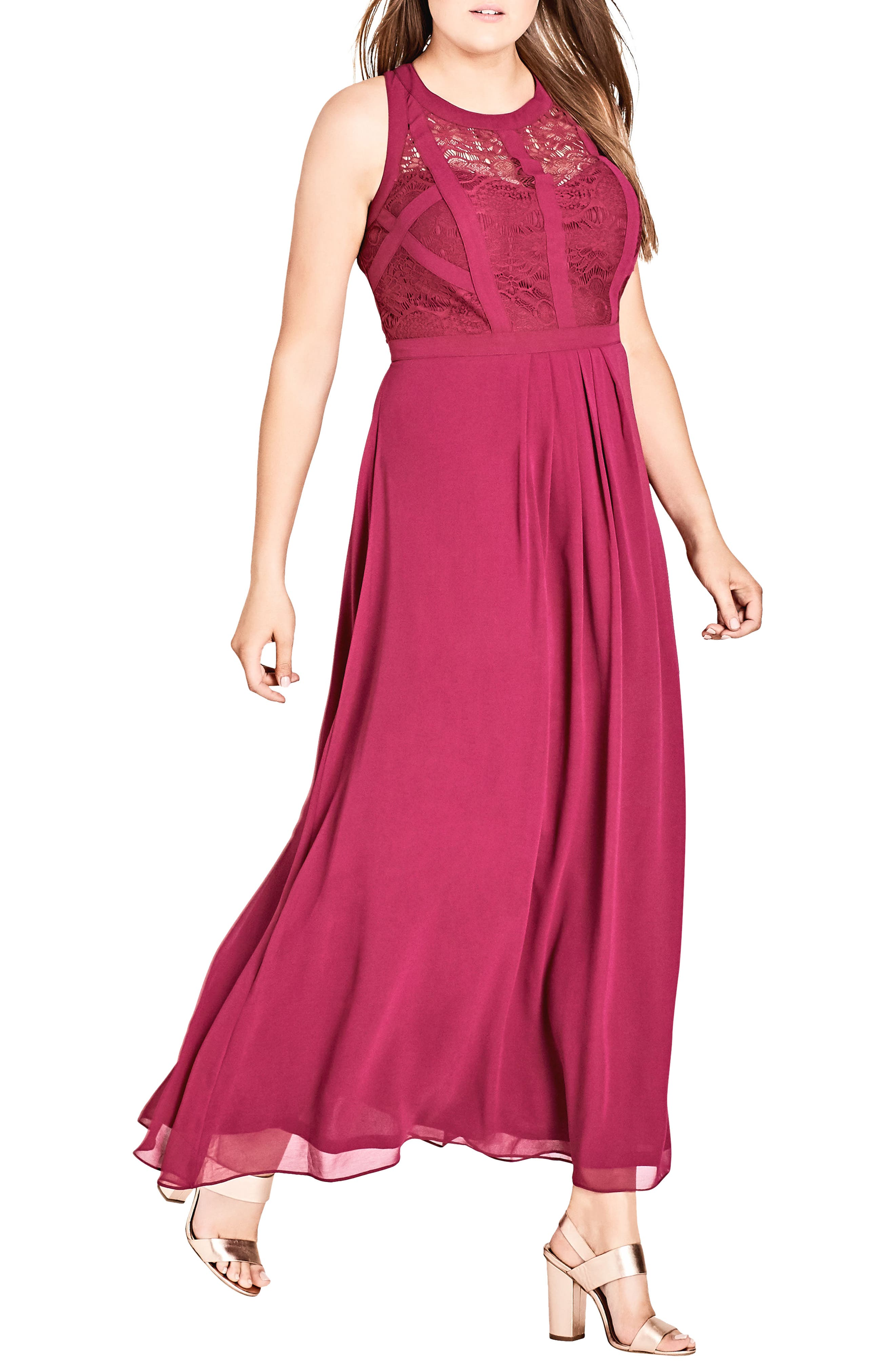 Paneled Lace Bodice Gown,                             Main thumbnail 2, color,