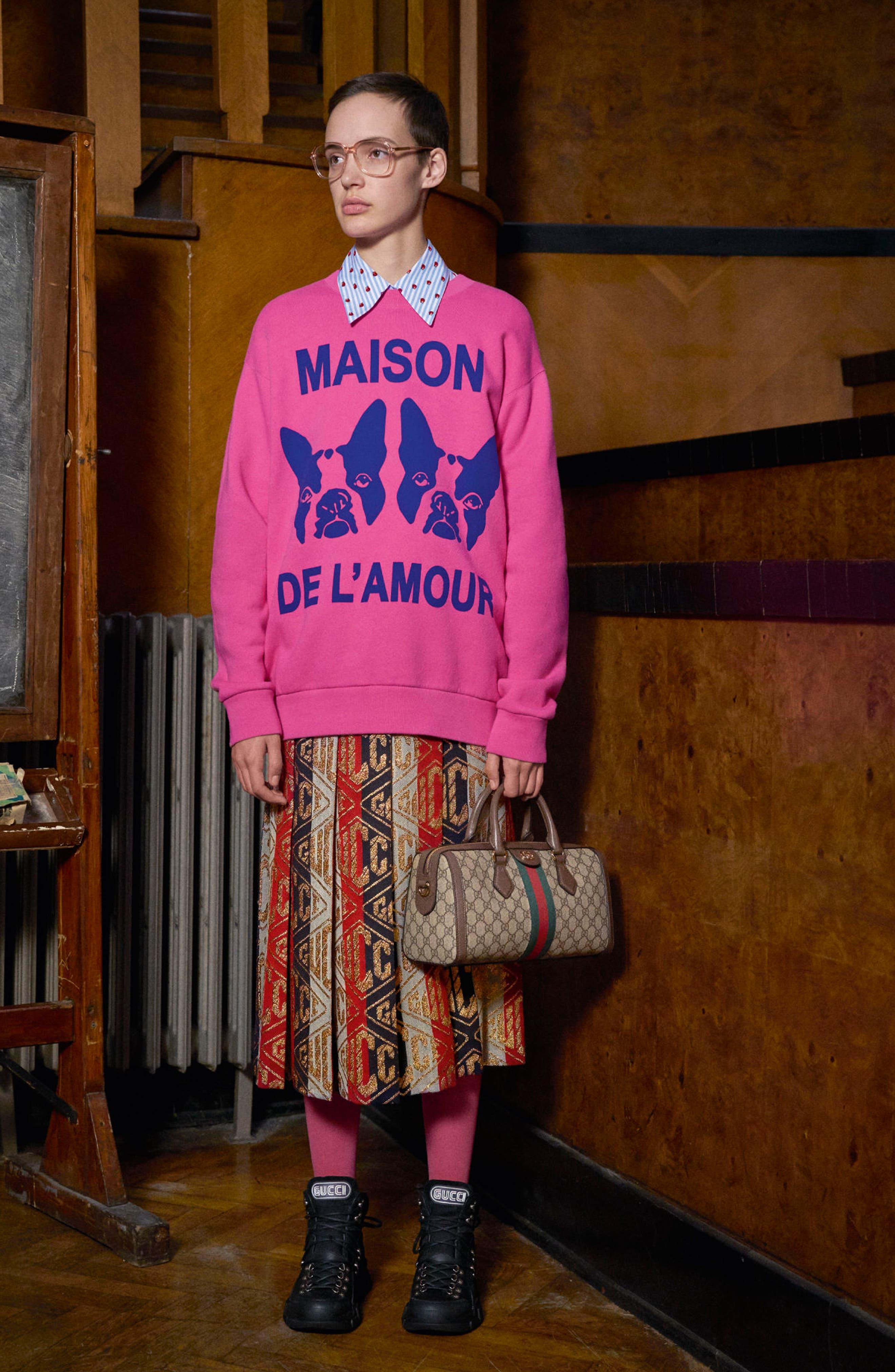 GUCCI,                             Metallic Logo Pleated Wool Blend Skirt,                             Alternate thumbnail 4, color,                             SYLVIE LUREX