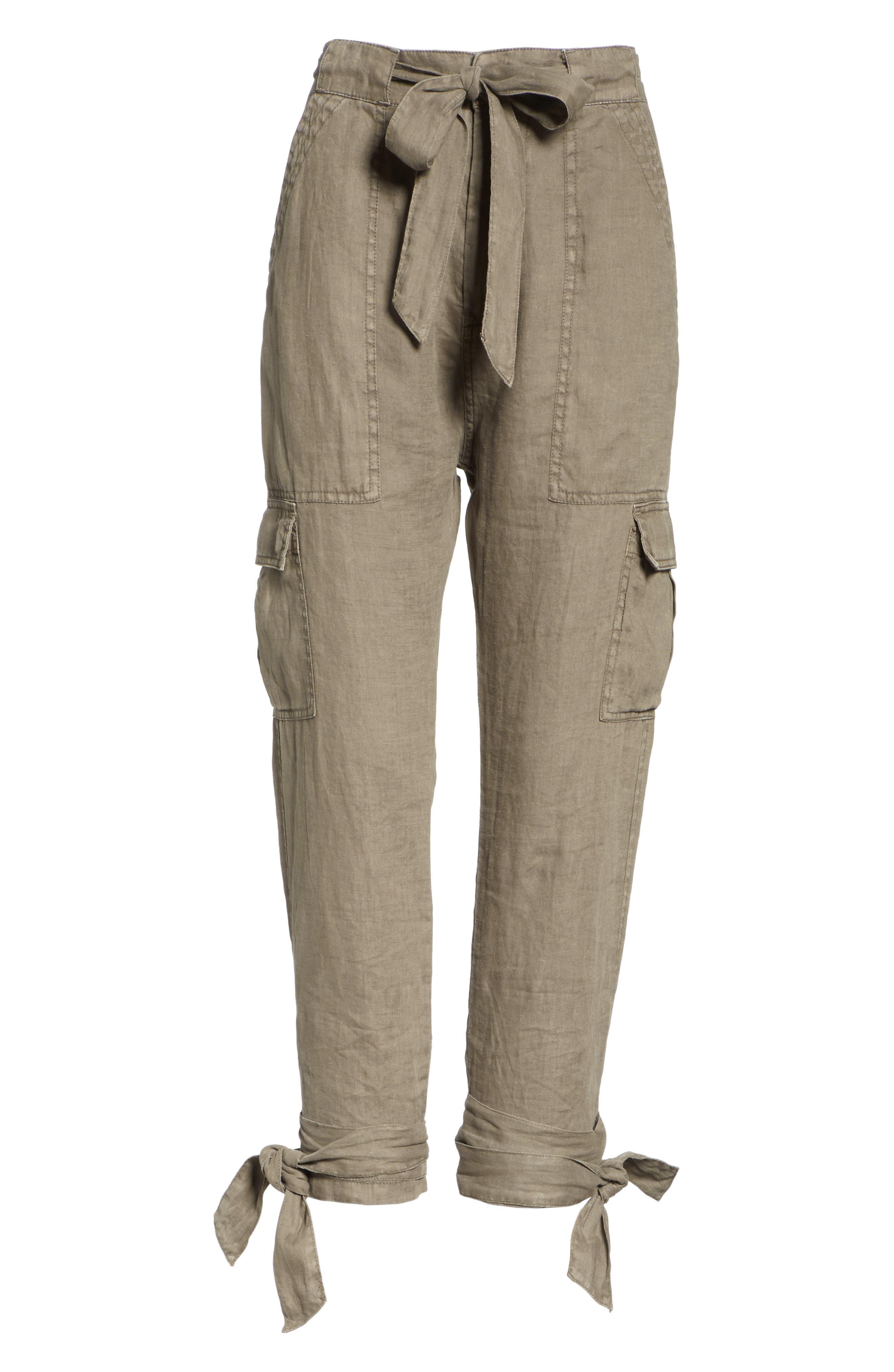 Erlette Linen Tie Cuff Crop Pants,                             Alternate thumbnail 12, color,