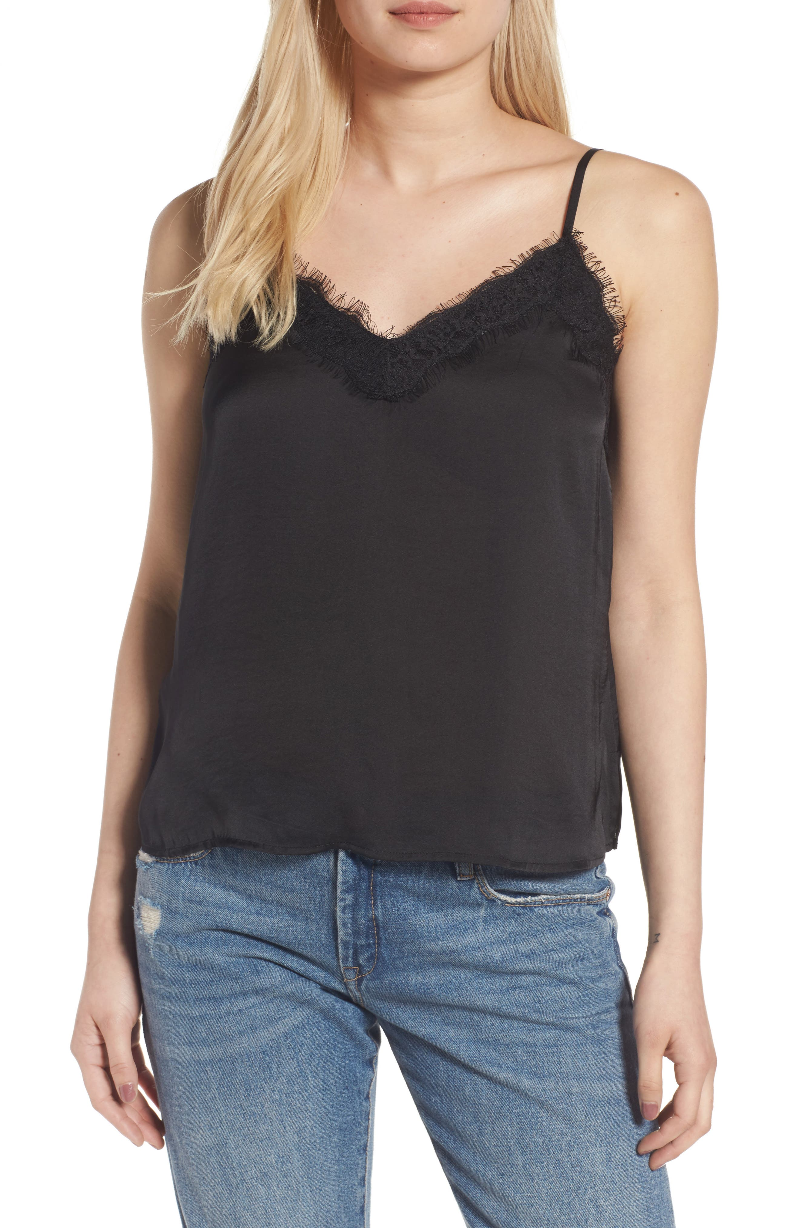 Lace Trim Satin Camisole,                         Main,                         color, BLACK