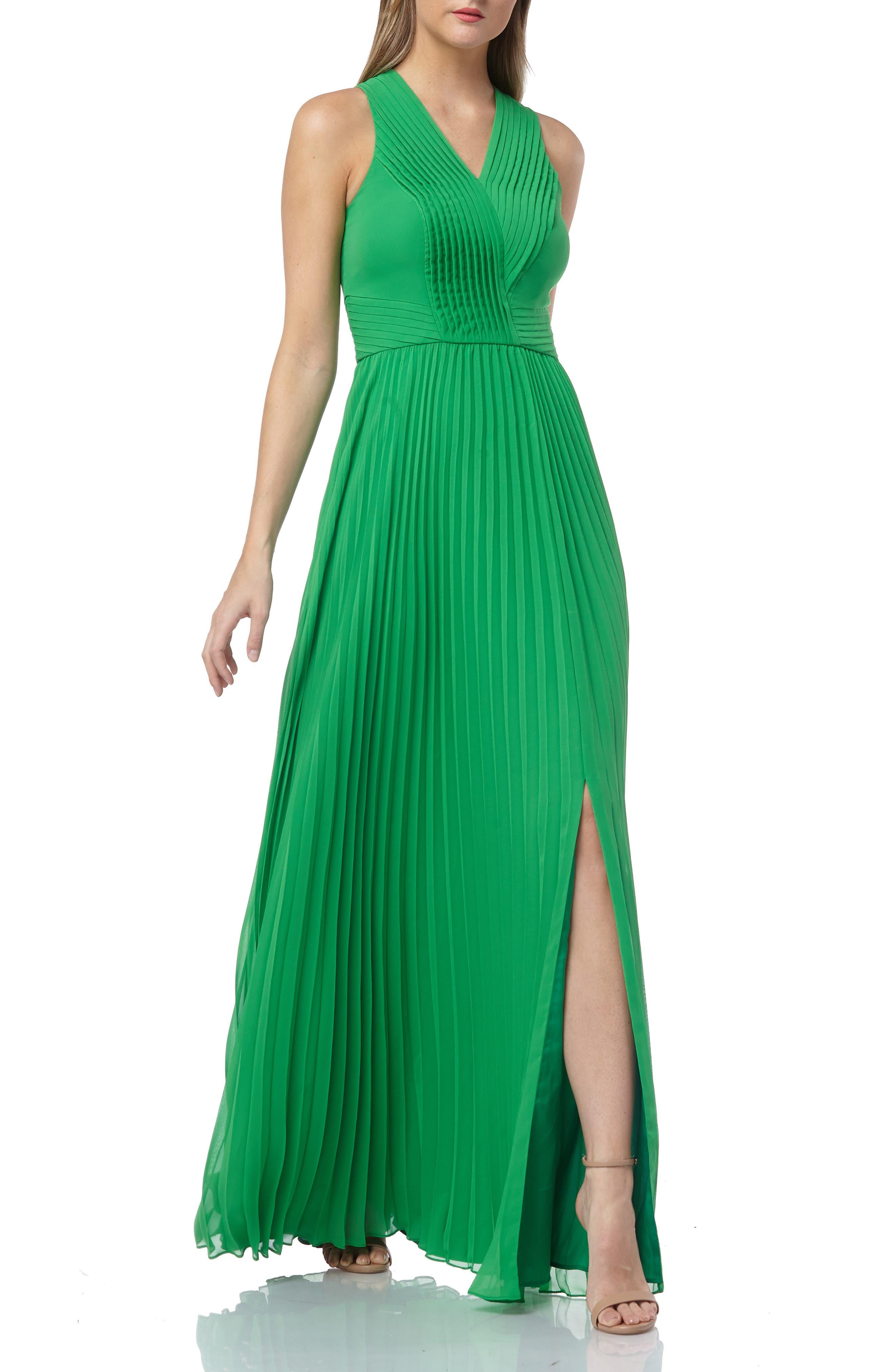 Kay Unger Pleated V-Neck Dress, Green