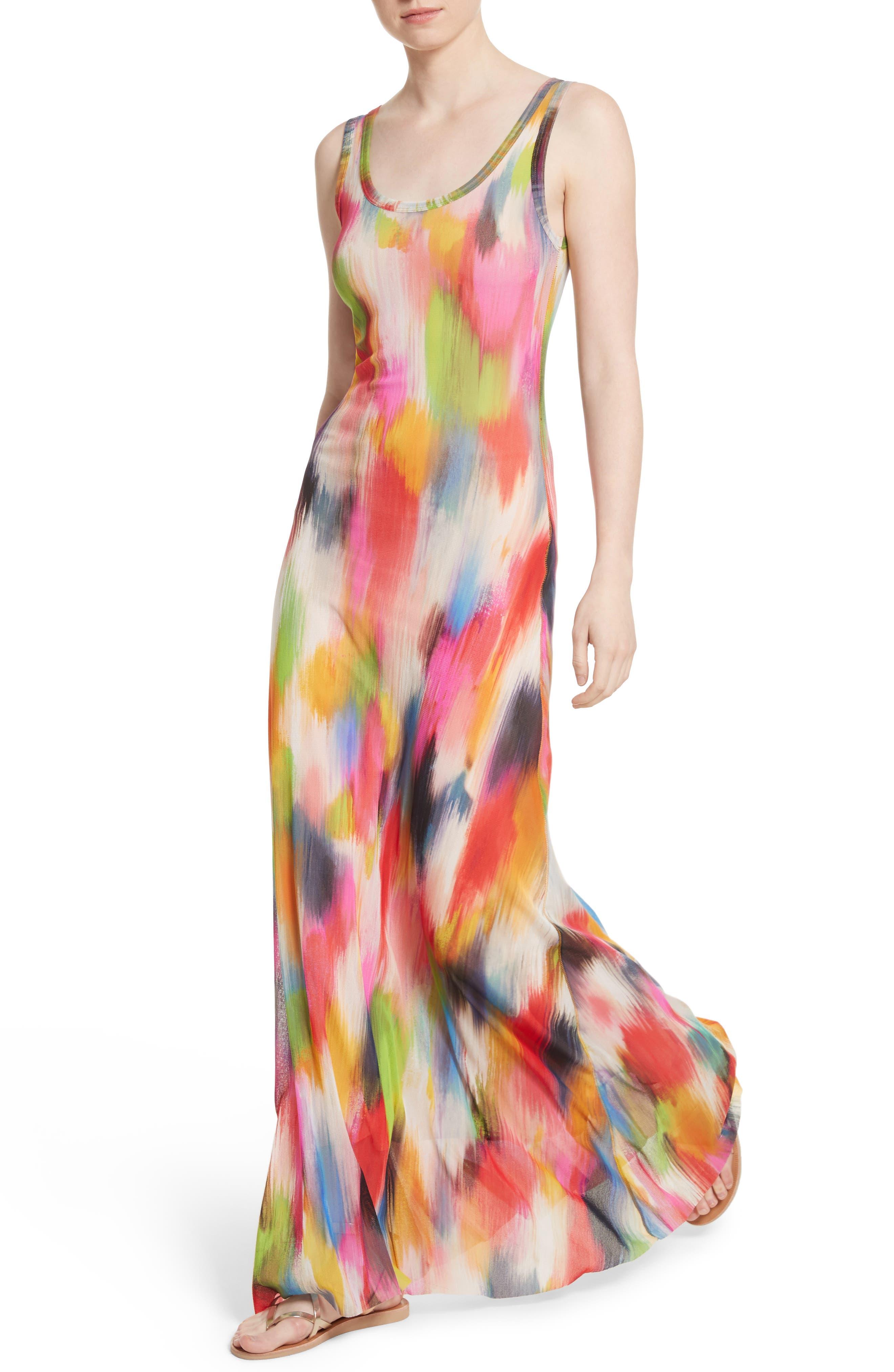 Brushstroke Print Tulle Maxi Dress,                             Alternate thumbnail 4, color,