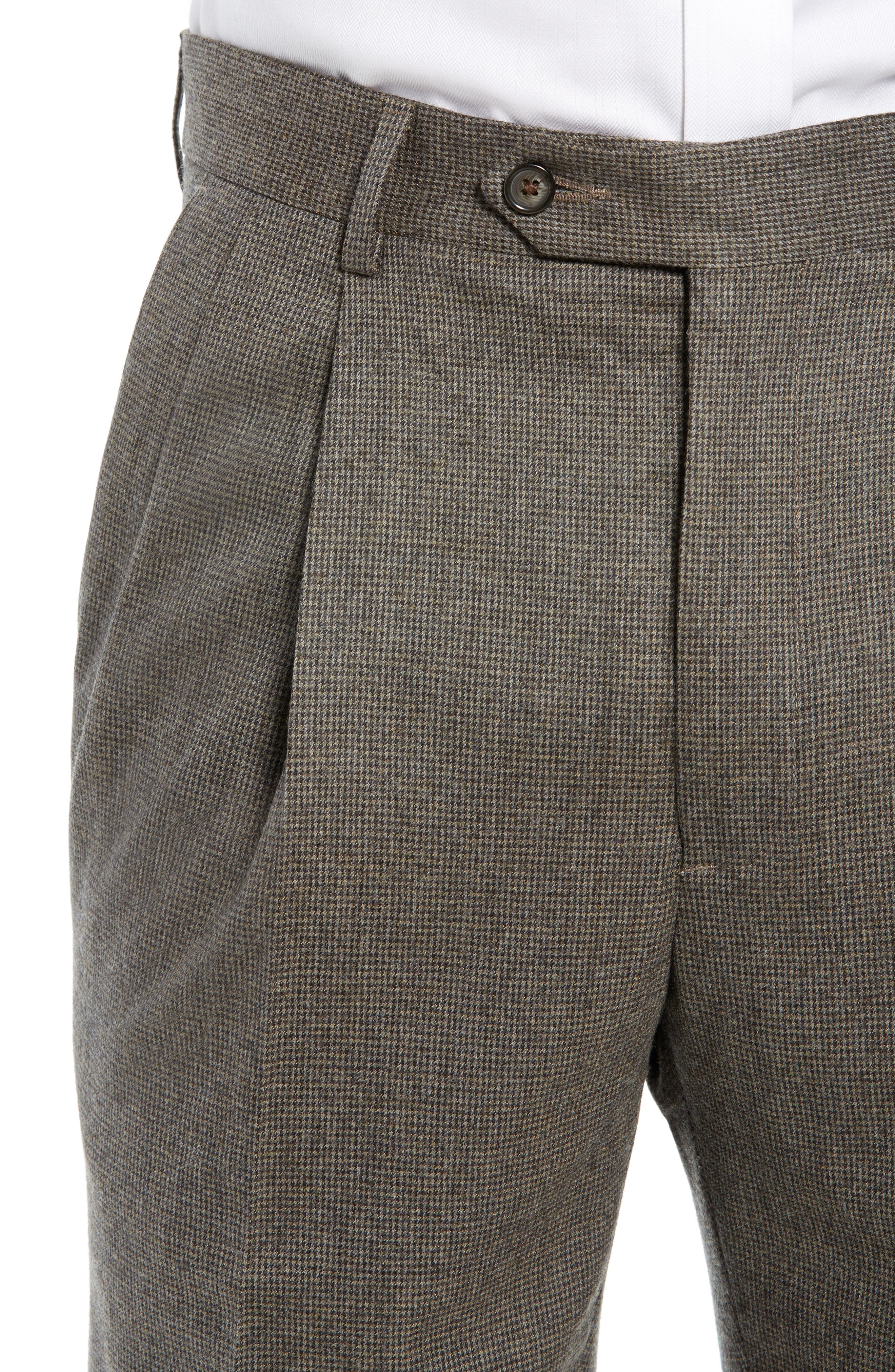 Pleated Stretch Houndstooth Wool Trousers,                             Alternate thumbnail 4, color,                             TAN