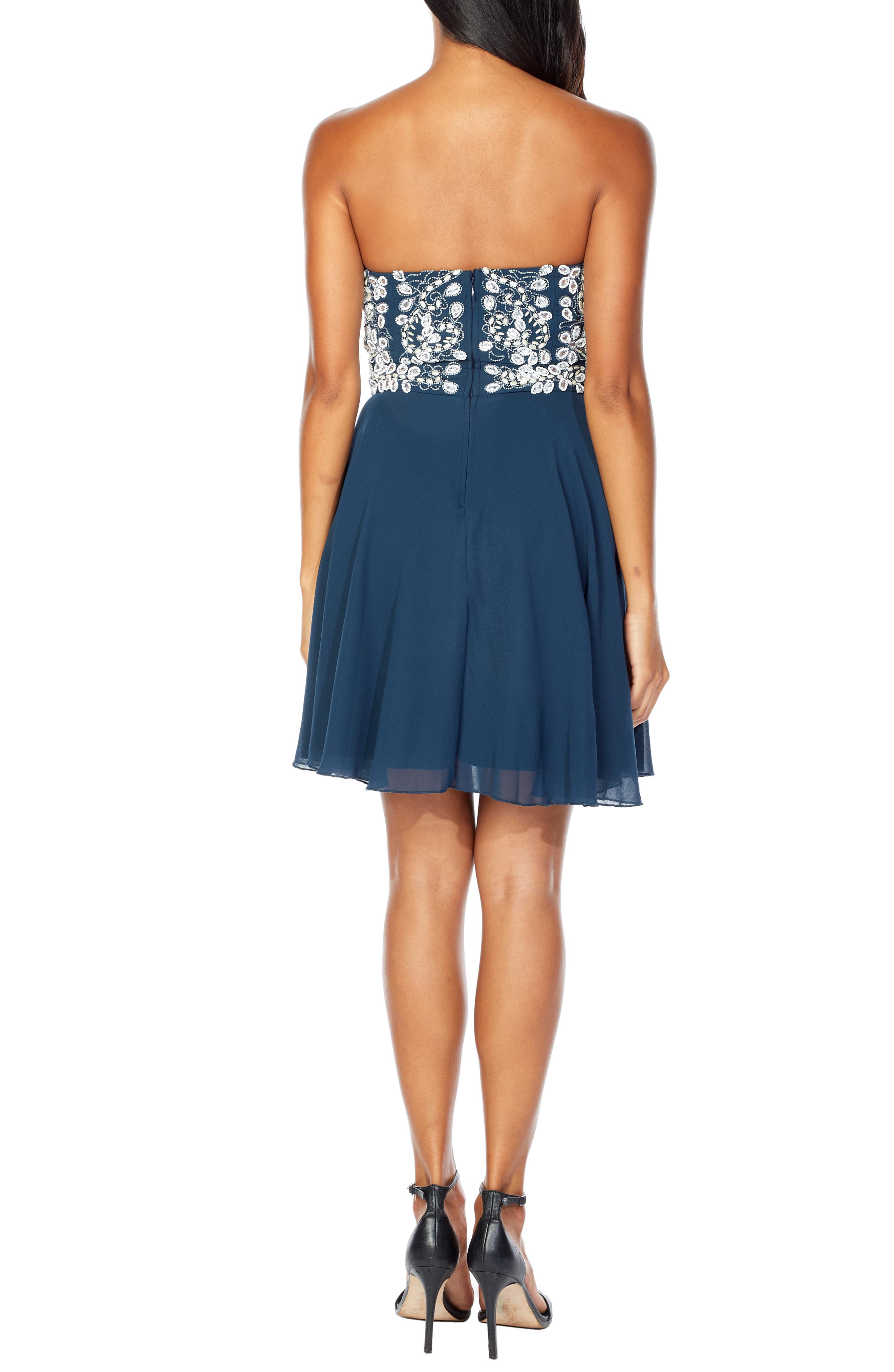 Amelia Strapless Fit & Flare Dress,                             Alternate thumbnail 2, color,                             NAVY