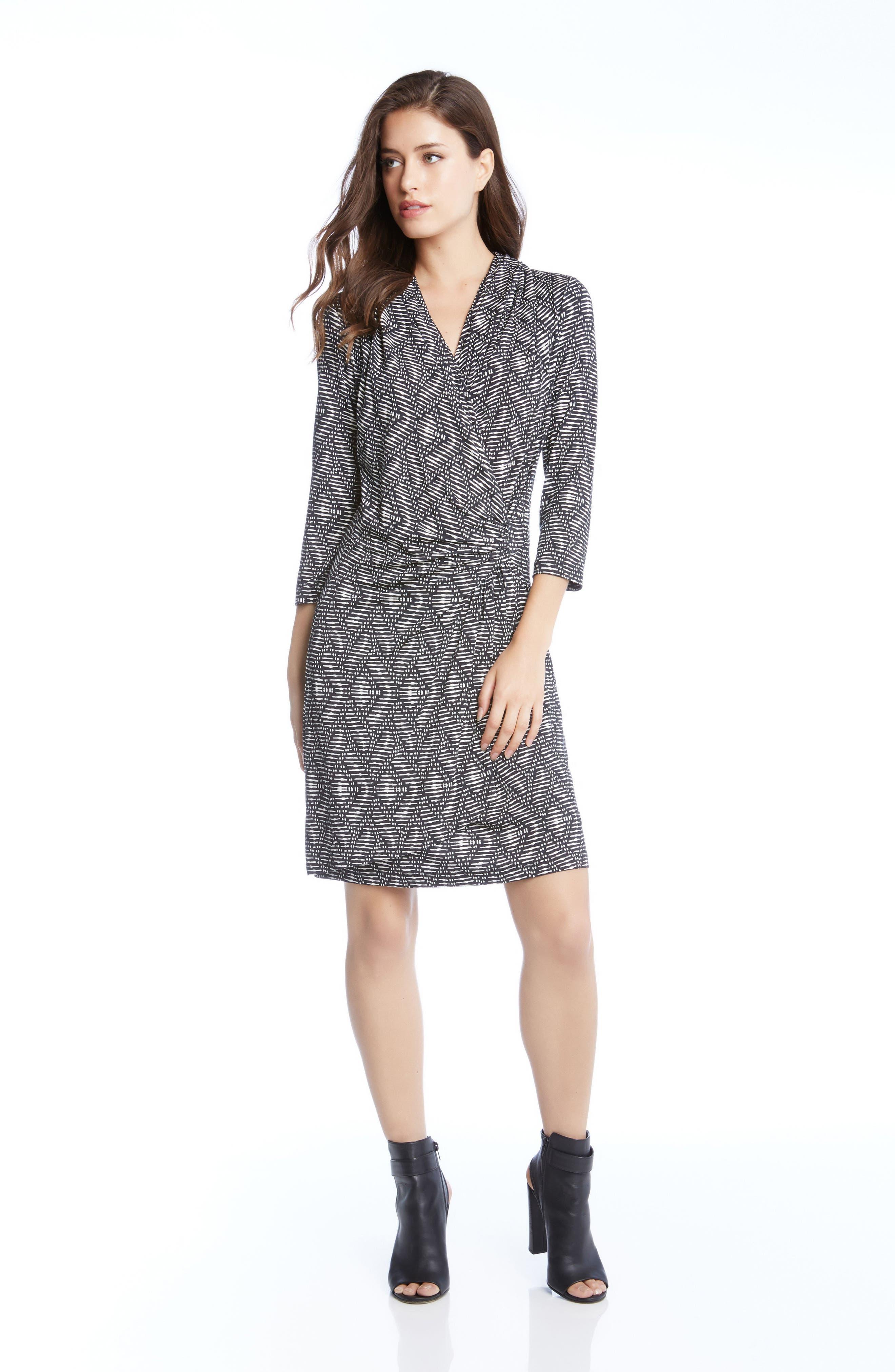 V-Neck Faux-Wrap Dress,                             Alternate thumbnail 3, color,                             006