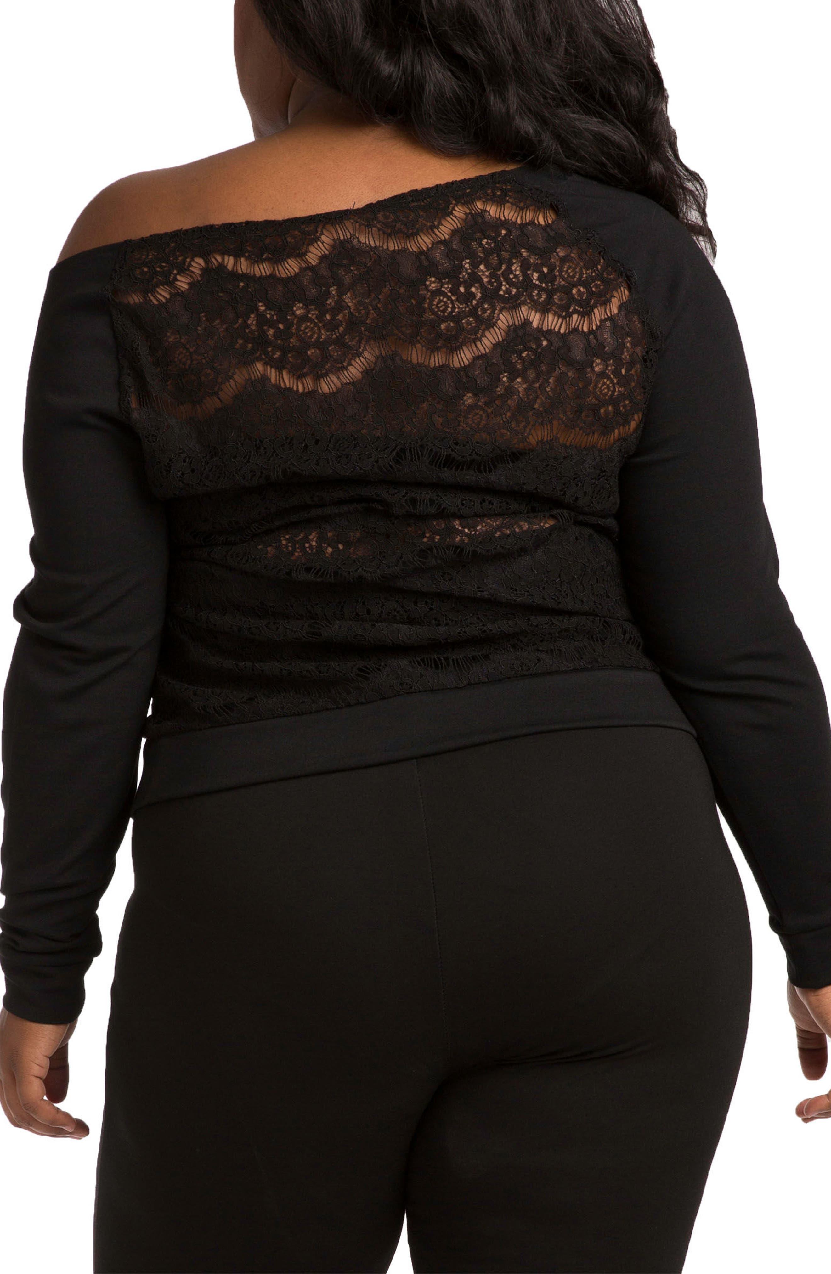 Lace & Ponte Knit Top,                             Alternate thumbnail 2, color,                             BLACK