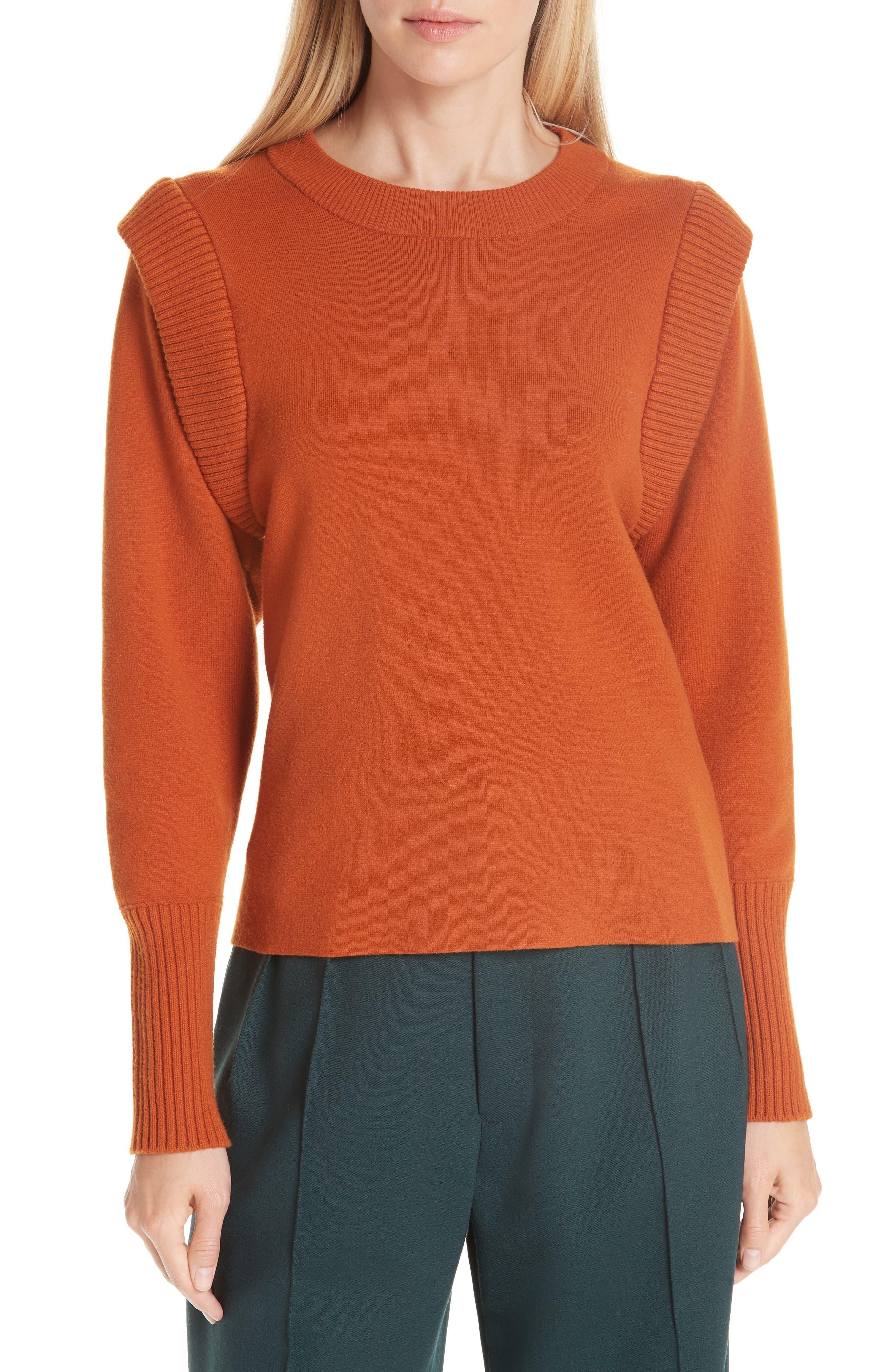 SEA,                             Rib Trim Milano Knit Sweater,                             Main thumbnail 1, color,                             800