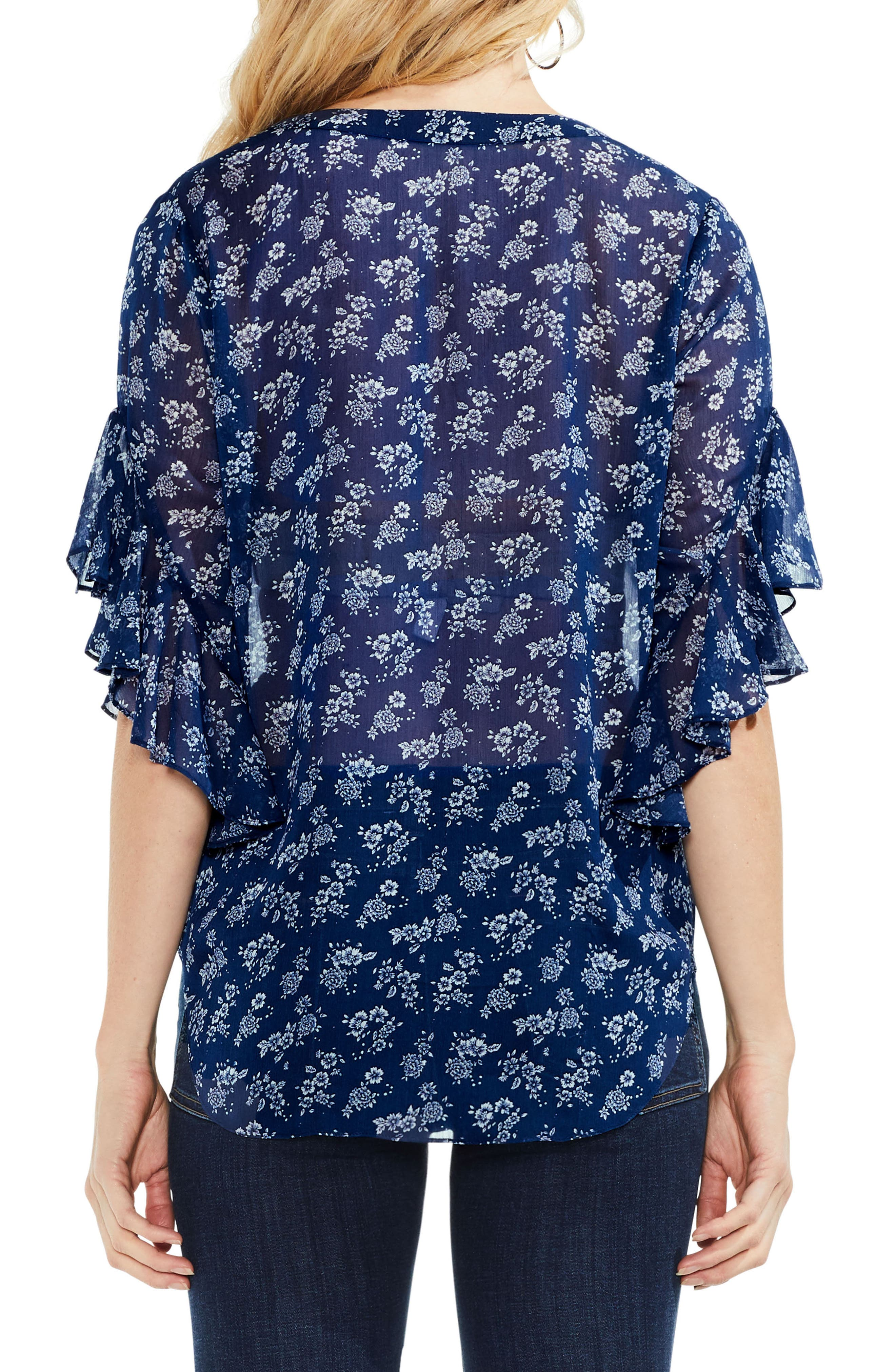 Ruffle Sleeve Floral Top,                             Alternate thumbnail 2, color,                             491