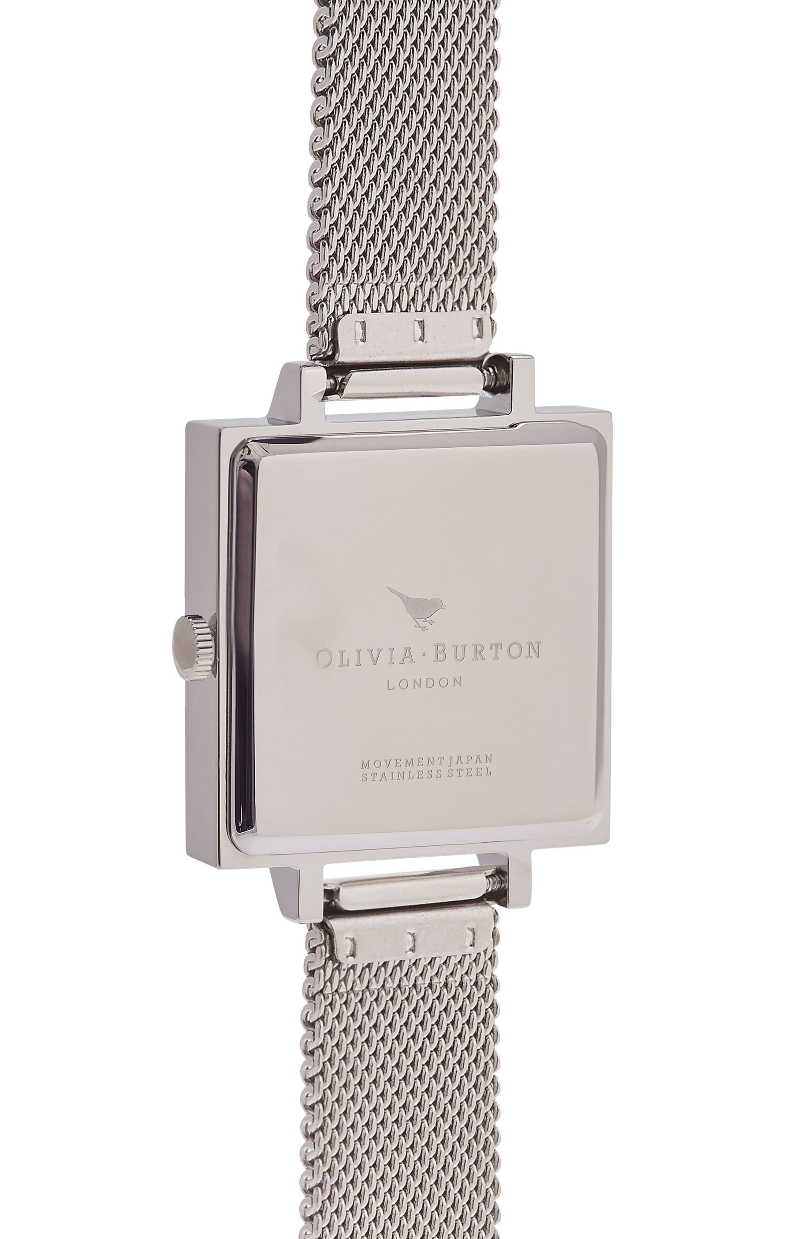 Big Square Mesh Strap Watch, 30mm,                             Alternate thumbnail 3, color,                             SILVER/ WHITE/ SILVER