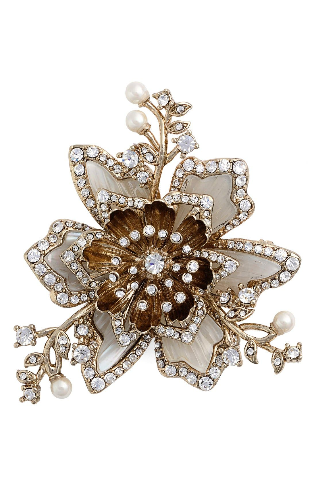 Crystal & Faux Pearl Brooch, Main, color, 710