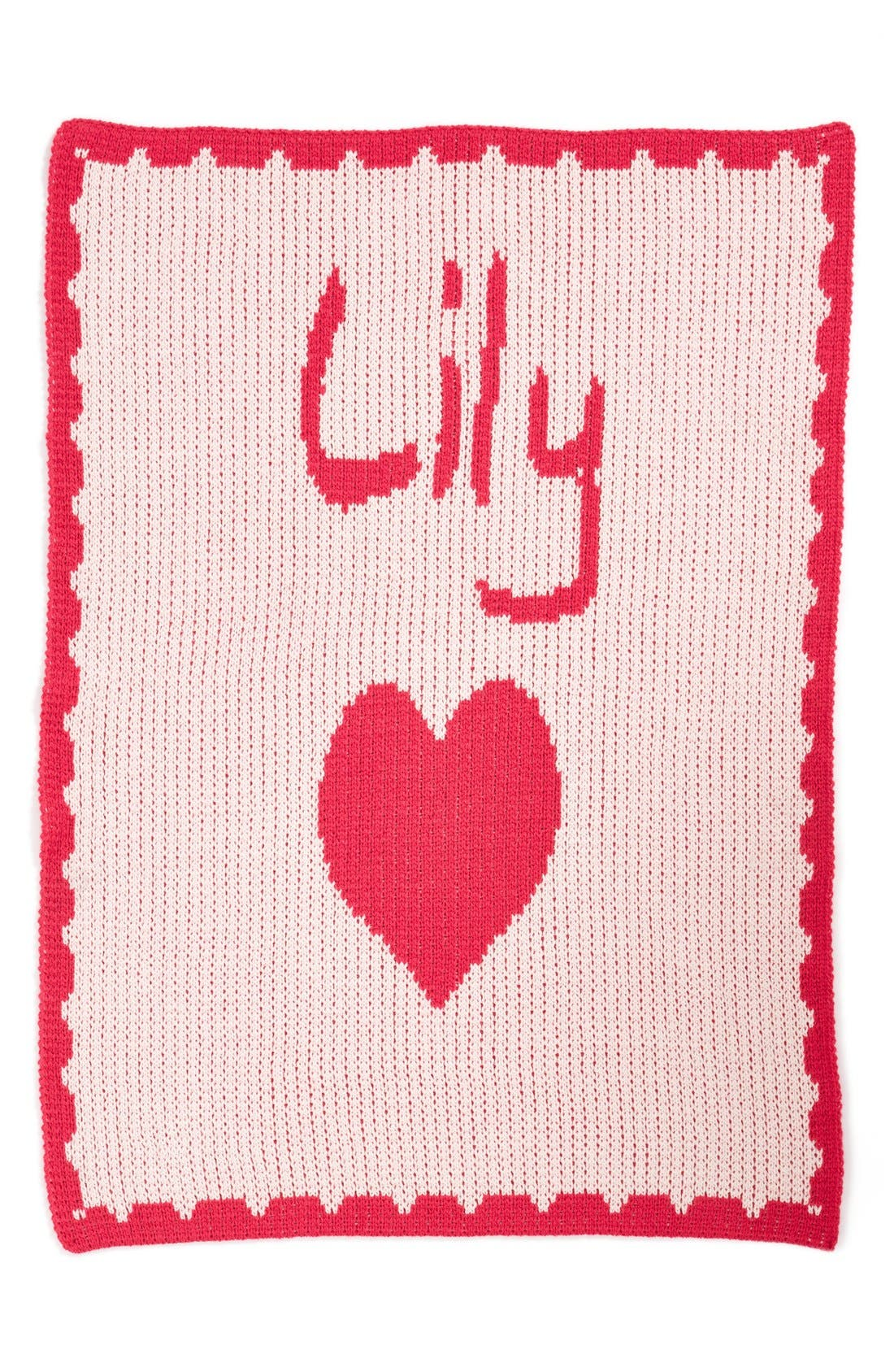 'Heart' Personalized Crib Blanket,                             Main thumbnail 1, color,                             PALE PINK/ FUCHSIA