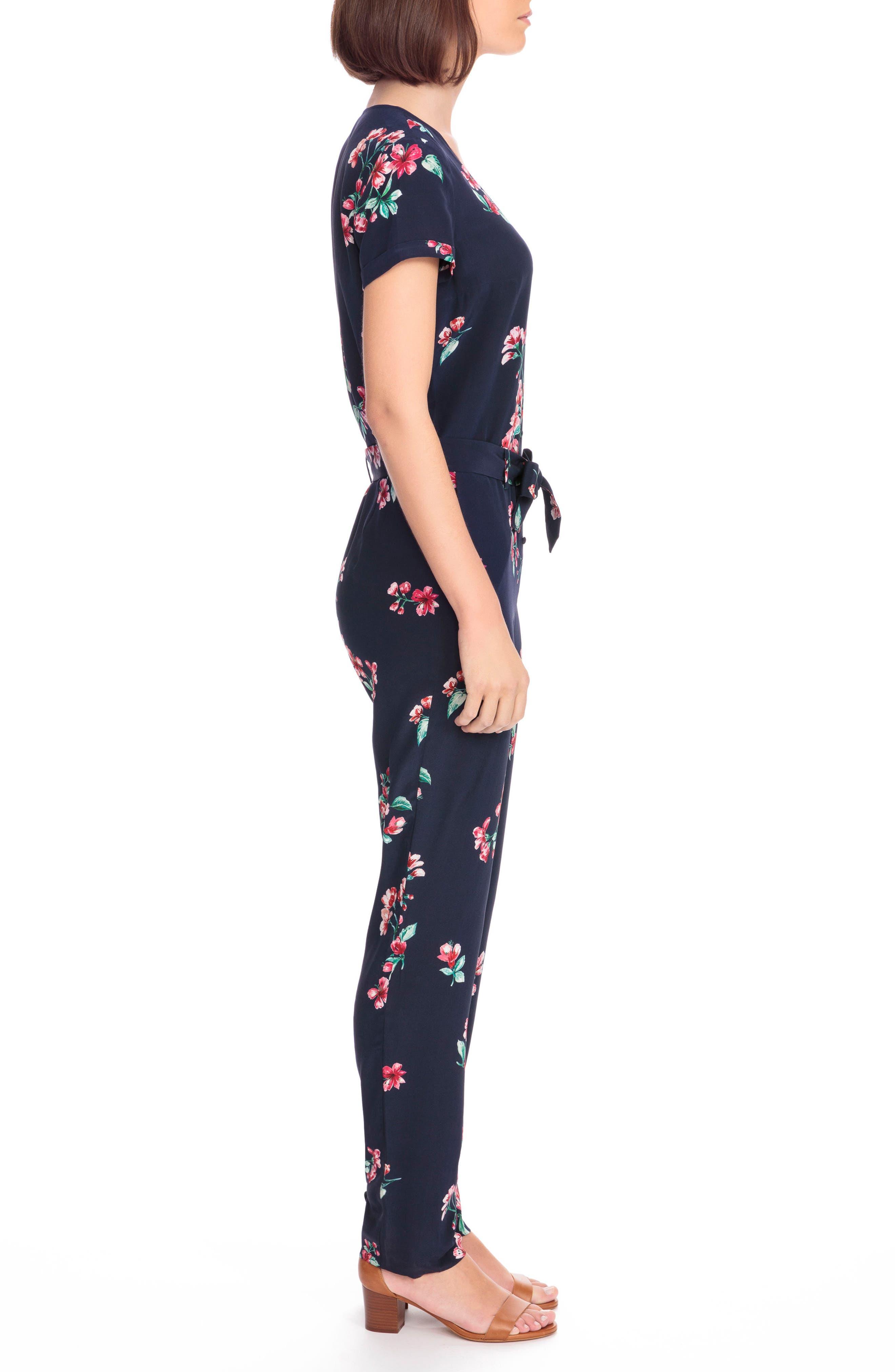 Ava Floral Silk Jumpsuit,                             Alternate thumbnail 3, color,                             400