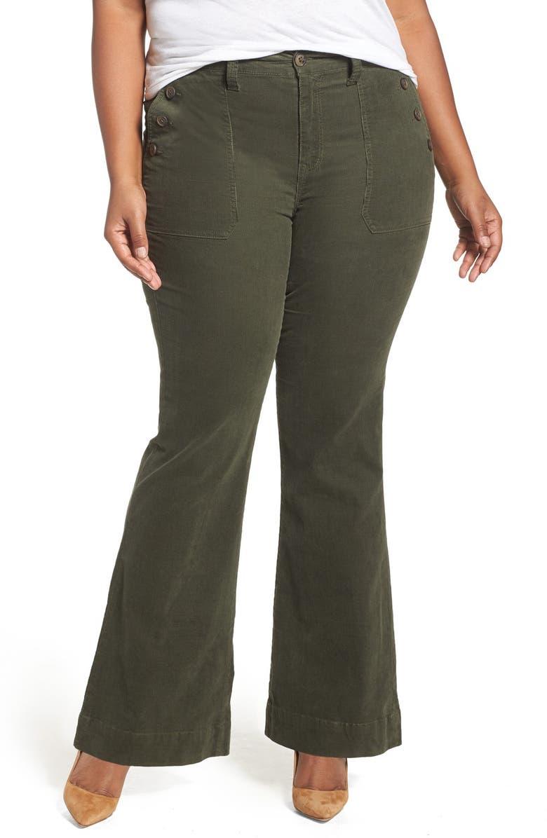 5dae9711a64f8 Melissa McCarthy Seven7 Retro Pocket Flare Leg Corduroy Pants (Plus ...