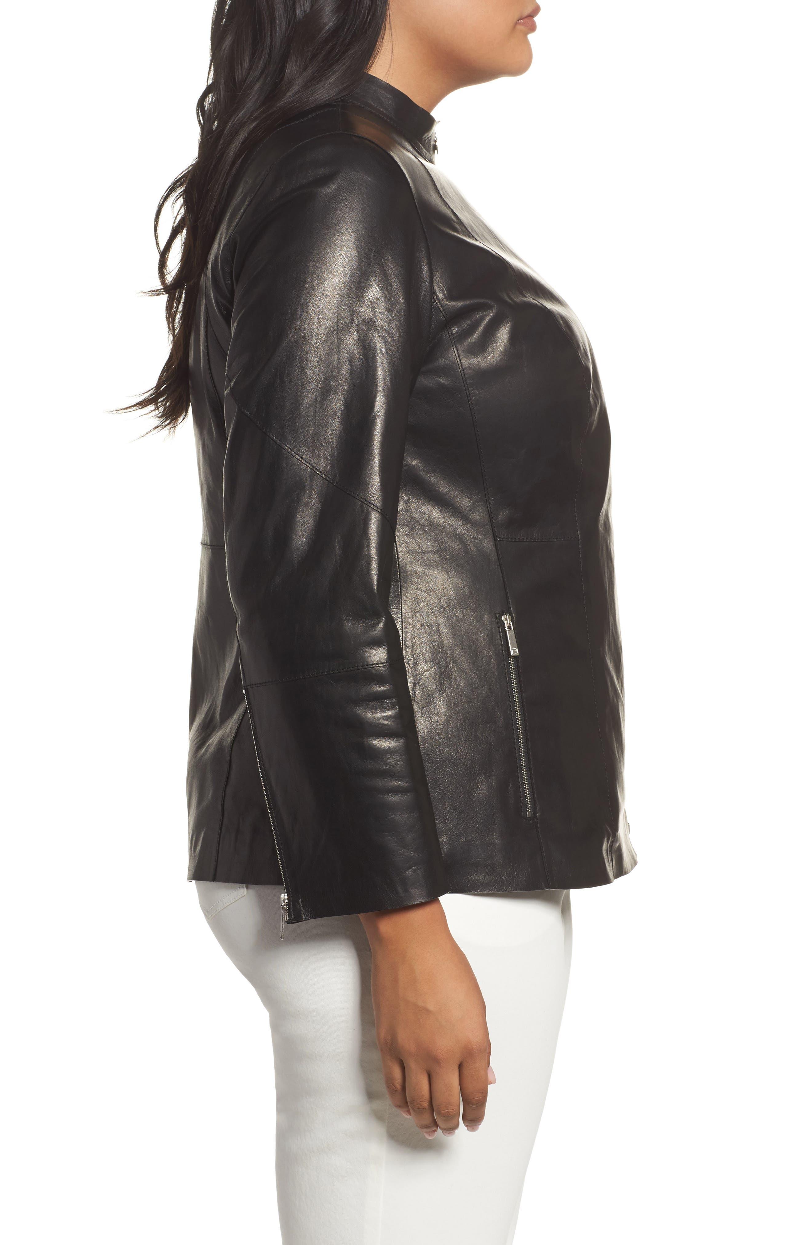 Presley Moto Leather Jacket,                             Alternate thumbnail 3, color,                             001
