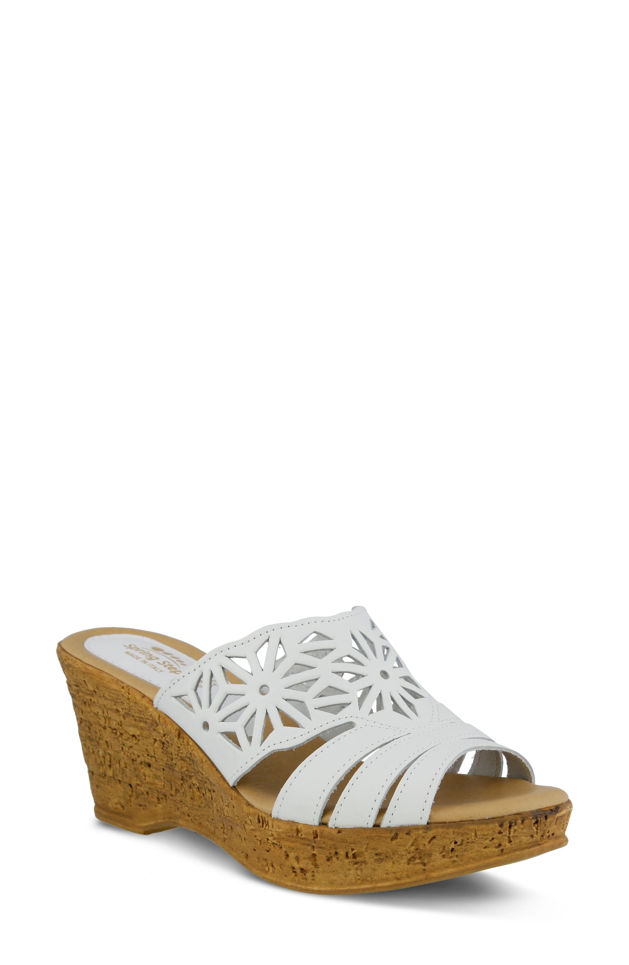 Dora Wedge Sandal,                         Main,                         color, WHITE LEATHER