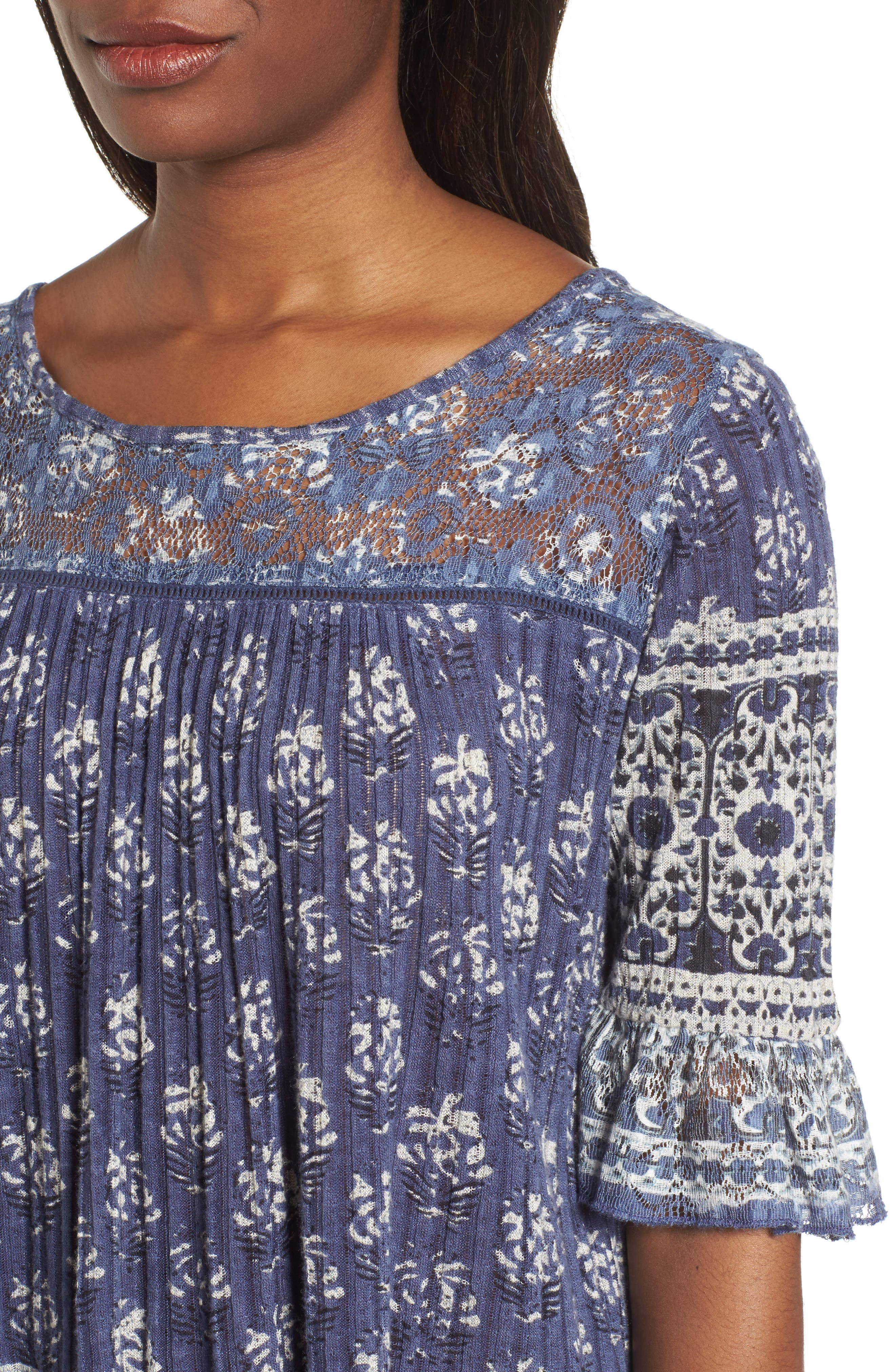 Blue and White Bell Sleeve Top,                             Alternate thumbnail 4, color,                             460