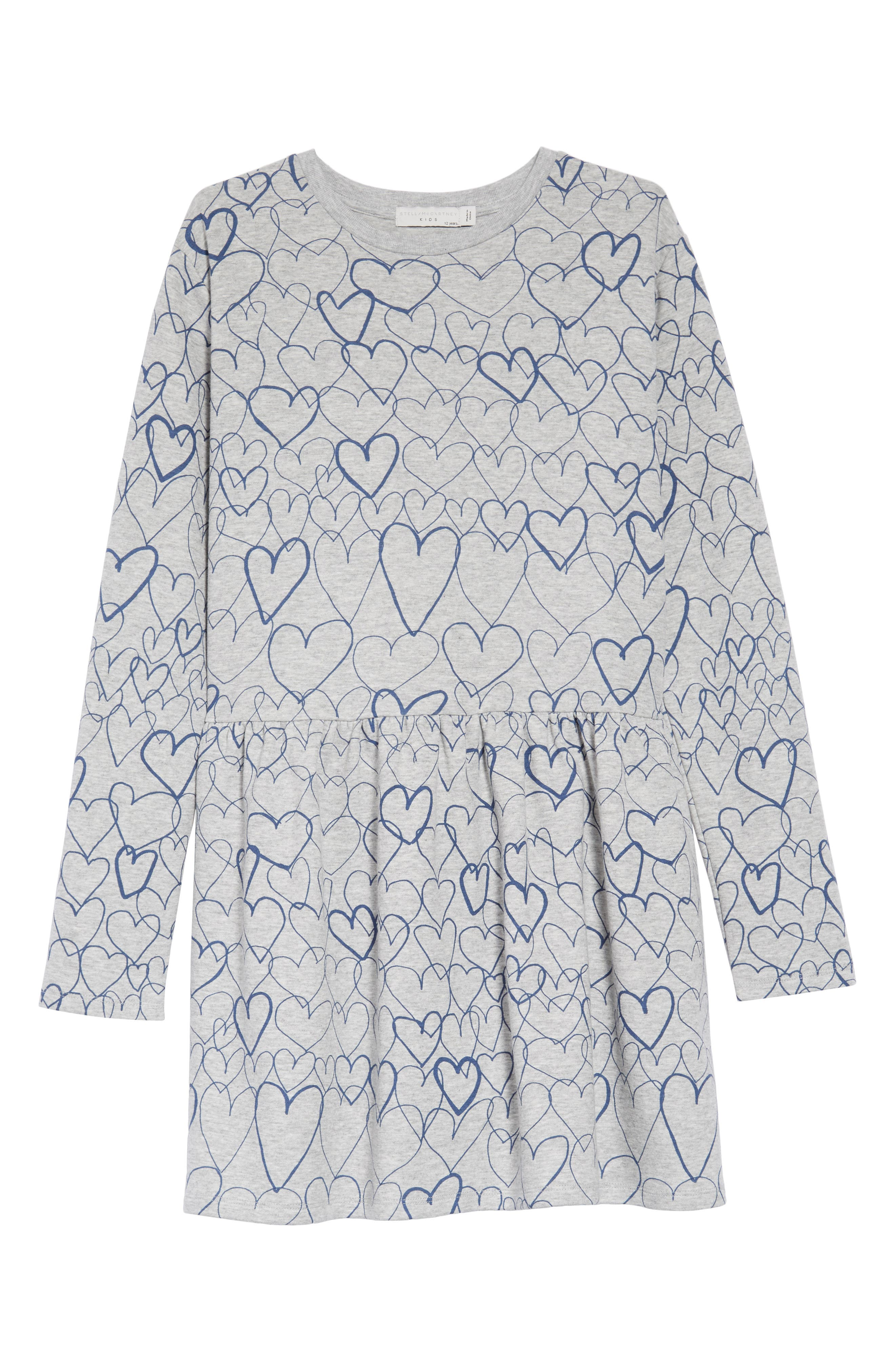Marion Heart Print Dress,                         Main,                         color, GREY BLUE