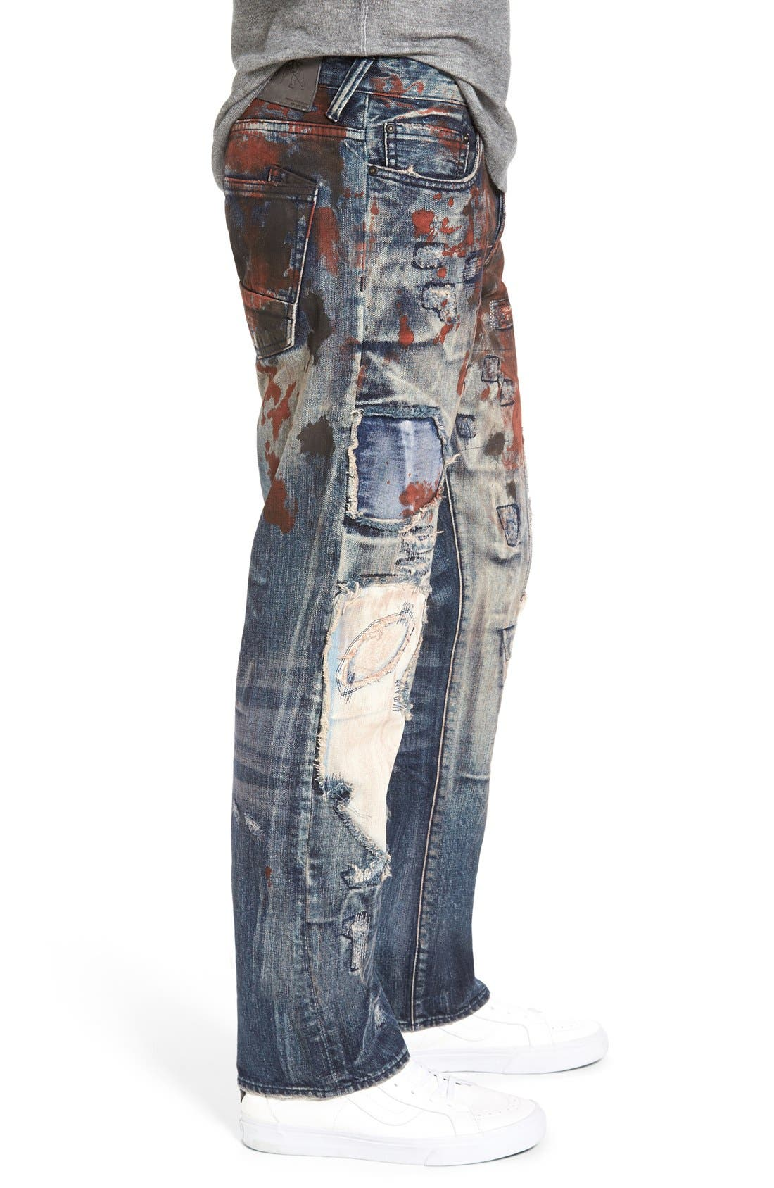 'Barracuda' Destroyed Straight Leg Jeans,                             Alternate thumbnail 3, color,                             490