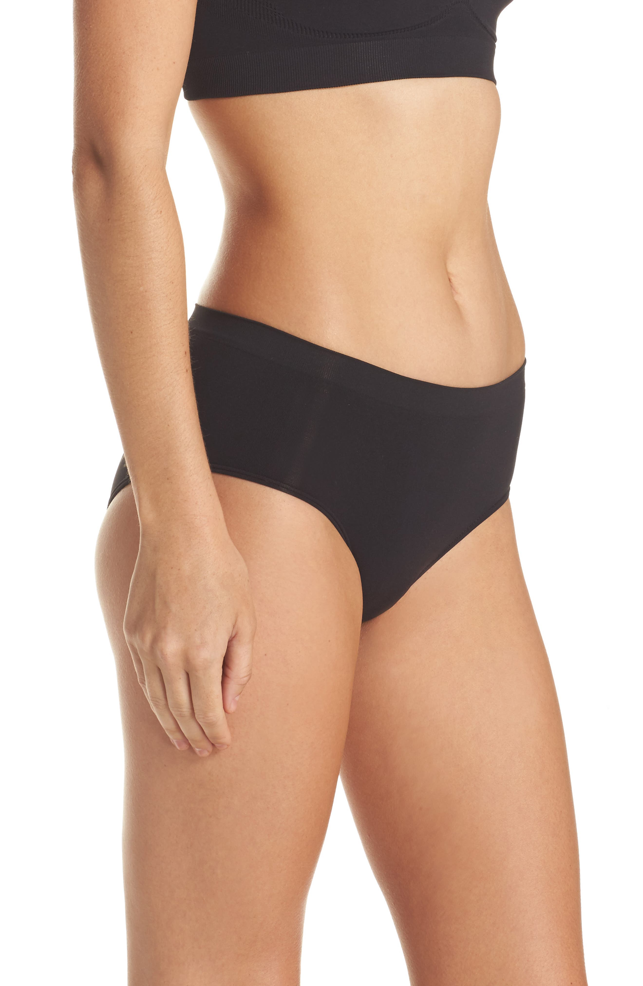 HALOGEN<SUP>®</SUP>,                             Seamless Hipster Briefs,                             Alternate thumbnail 3, color,                             BLACK