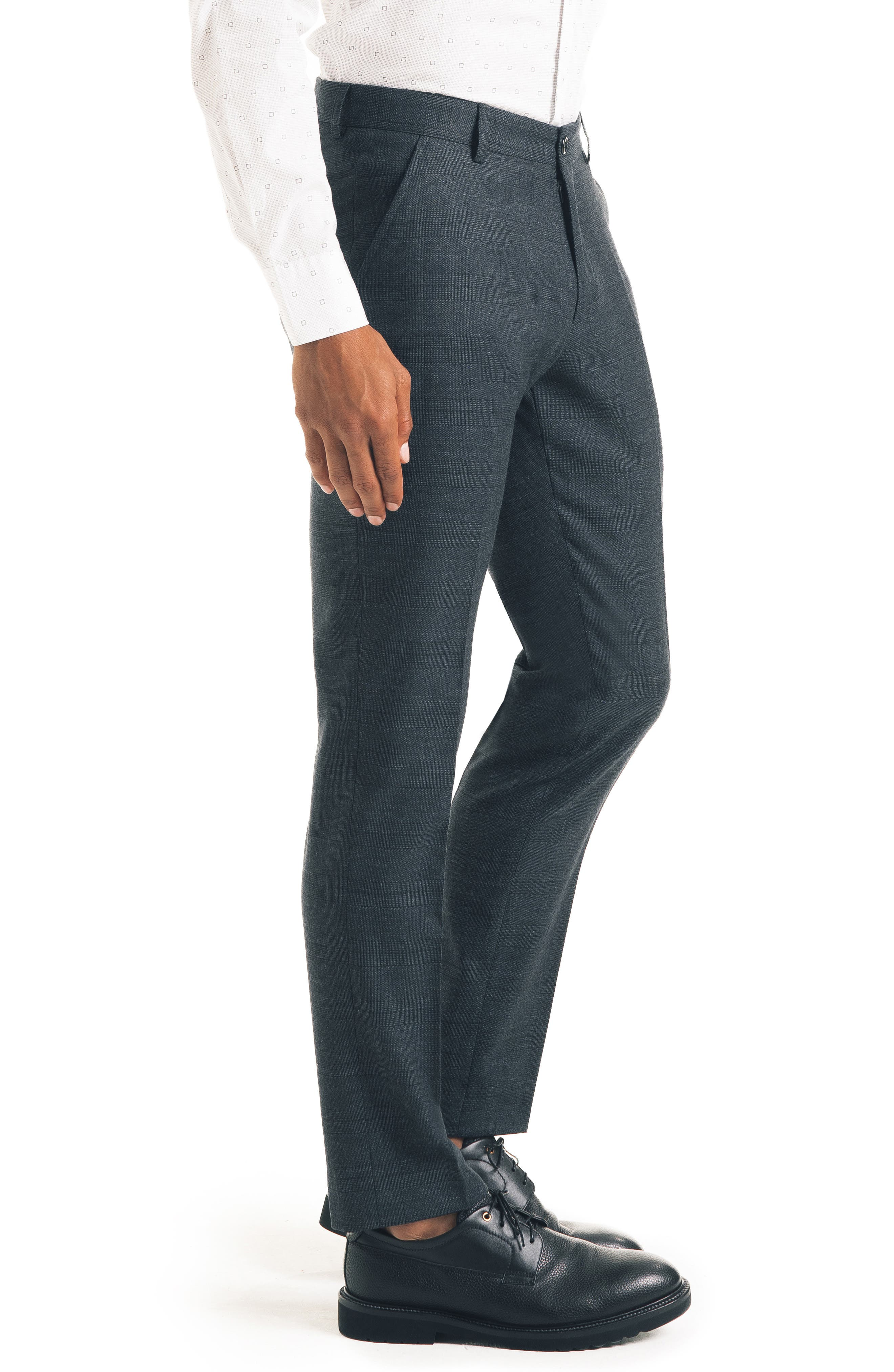 Flat Front Stretch Wool Blend Trousers,                             Alternate thumbnail 3, color,                             CHARCOAL
