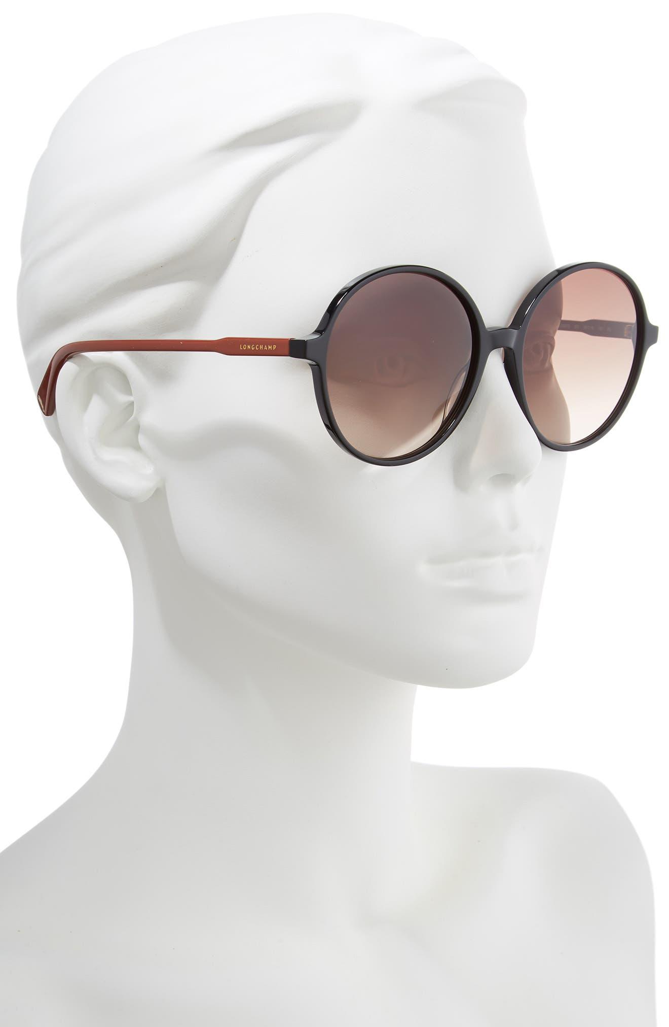49mm Gradient Round Sunglasses,                             Alternate thumbnail 2, color,                             BLACK