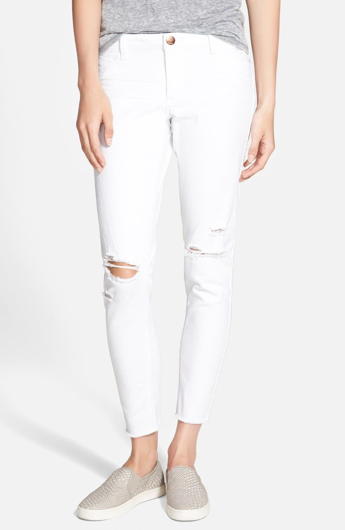Frayed Skinny Jeans,                             Main thumbnail 1, color,                             100