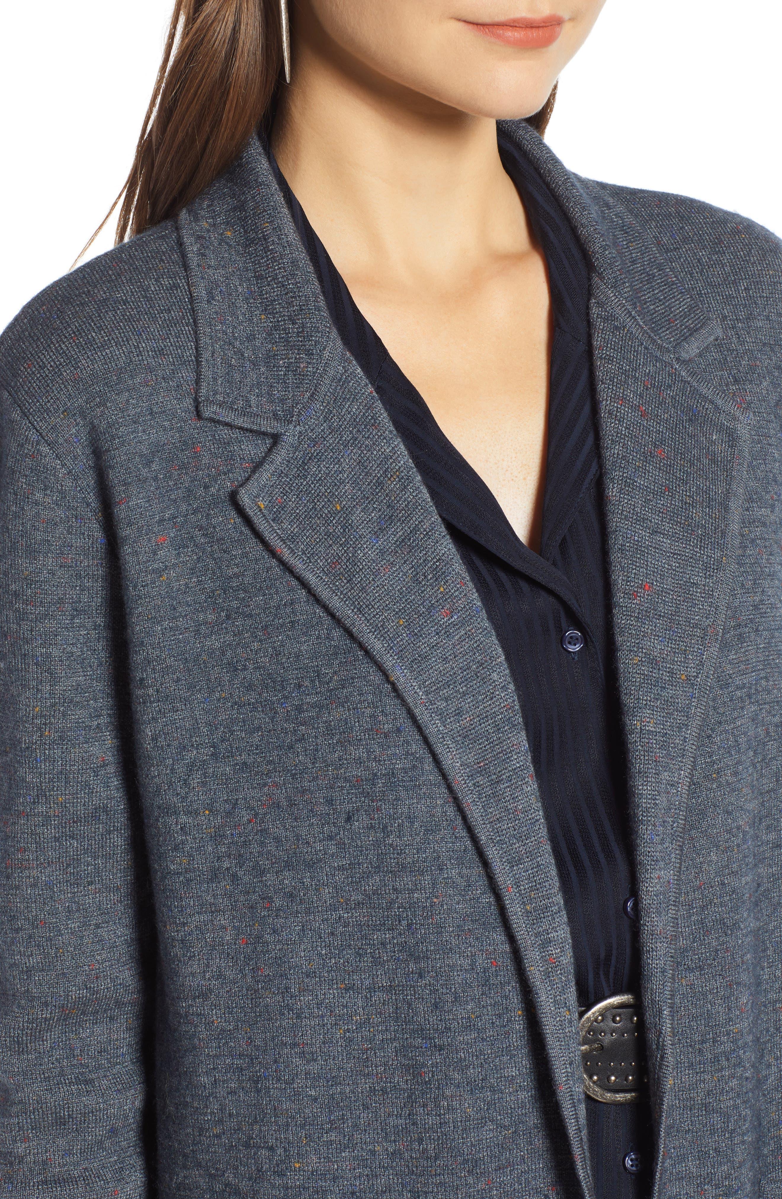 Sweater Blazer,                             Alternate thumbnail 4, color,                             GREY MEDIUM CHARCOAL HEATHER