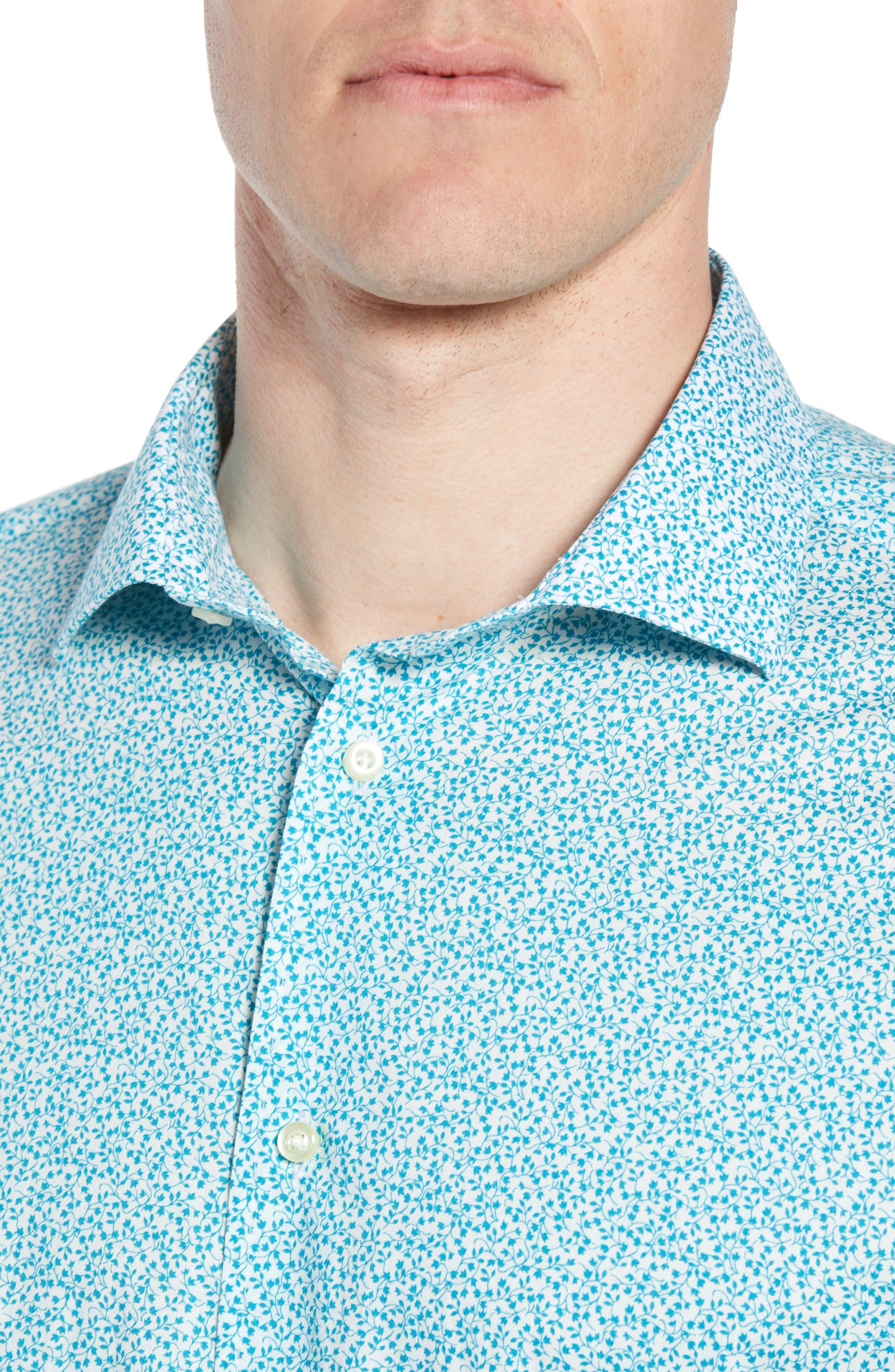 THOMAS DEAN,                             Regular Fit Floral Print Sport Shirt,                             Alternate thumbnail 4, color,                             300
