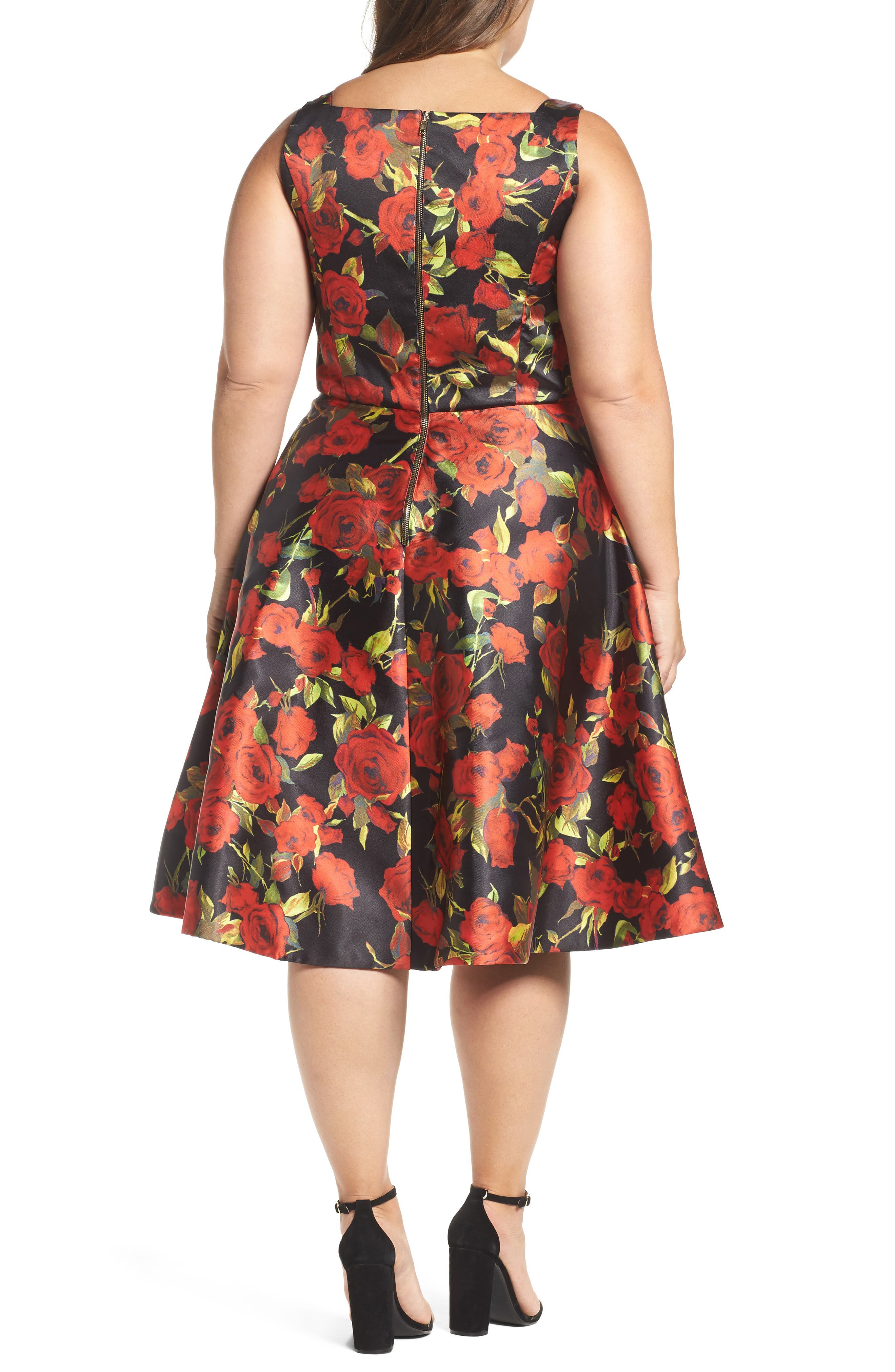 Floral Fit & Flare Dress,                             Alternate thumbnail 2, color,                             001