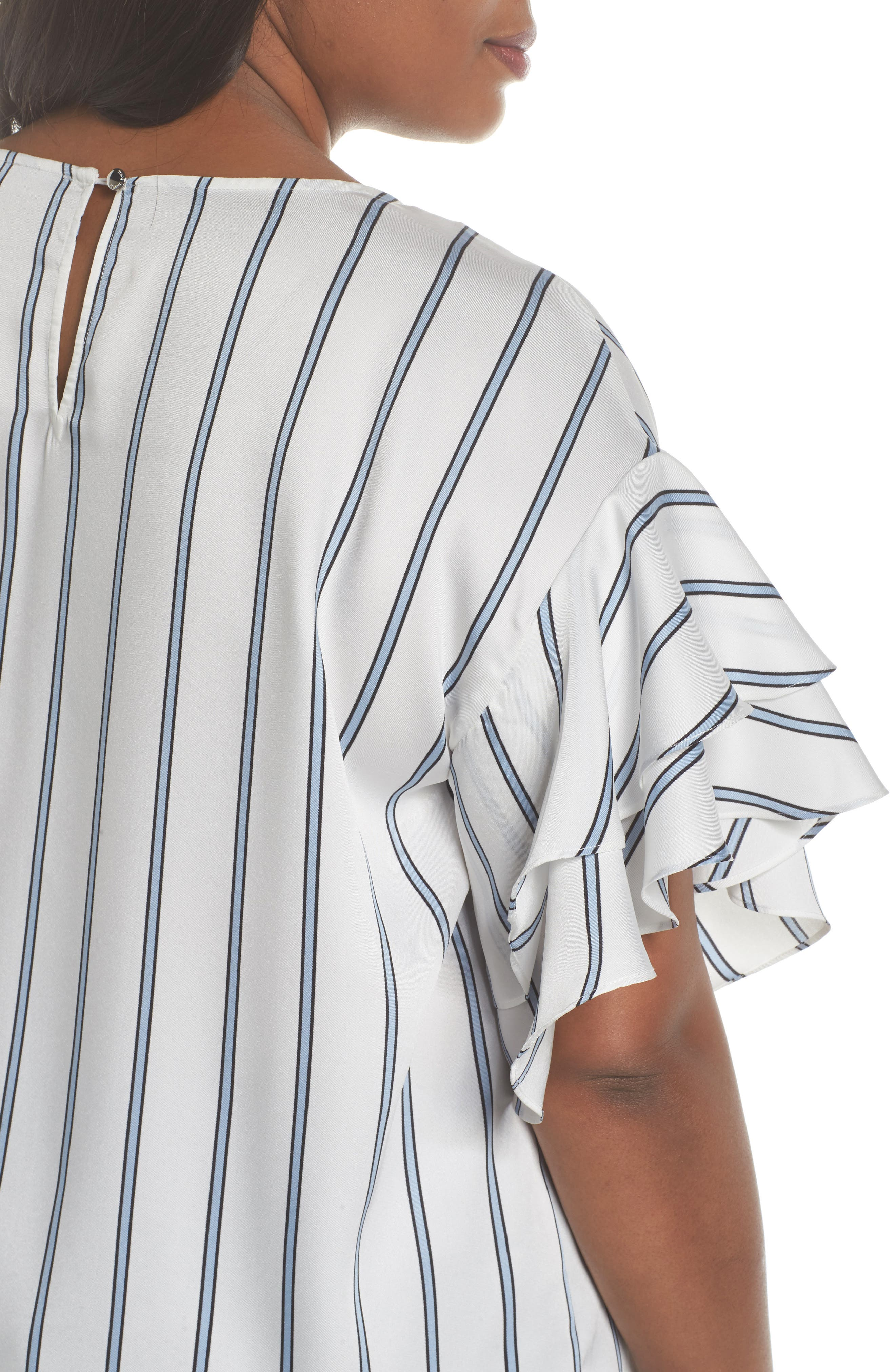 Tiered Ruffle Sleeve Stripe Top,                             Alternate thumbnail 8, color,