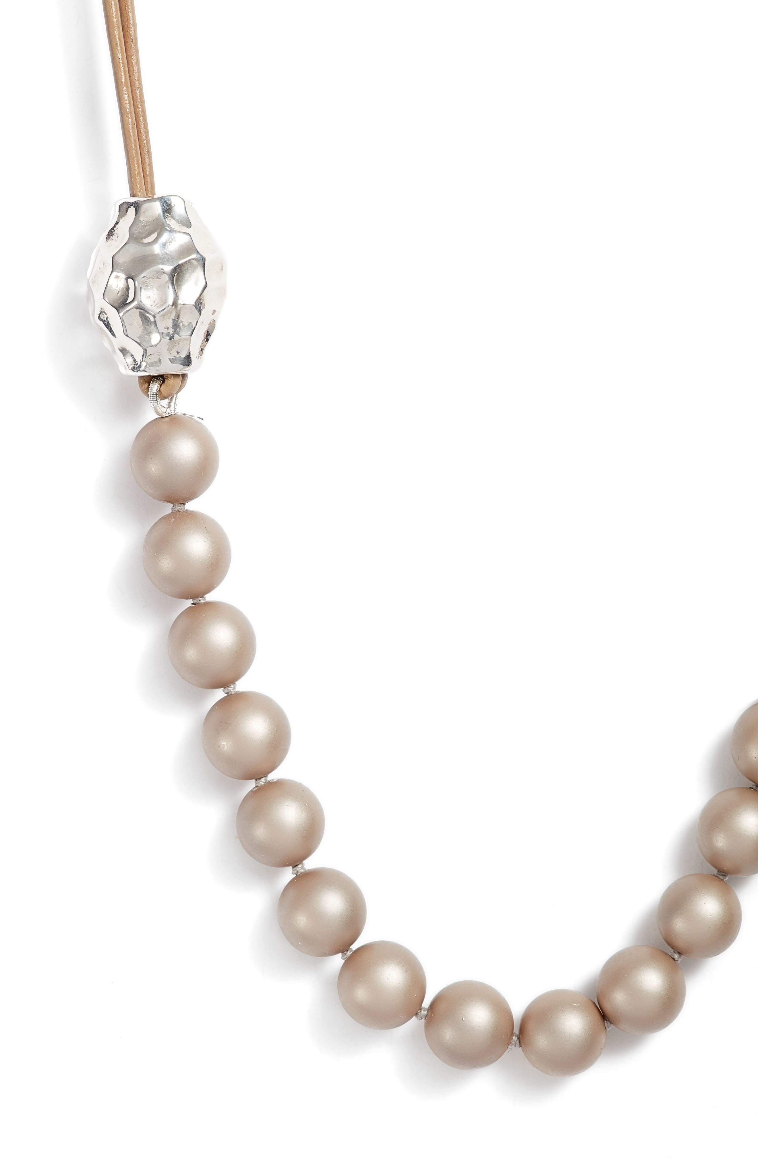 Imitation Pearl & Sterling Silver Strand Necklace,                             Alternate thumbnail 2, color,                             250
