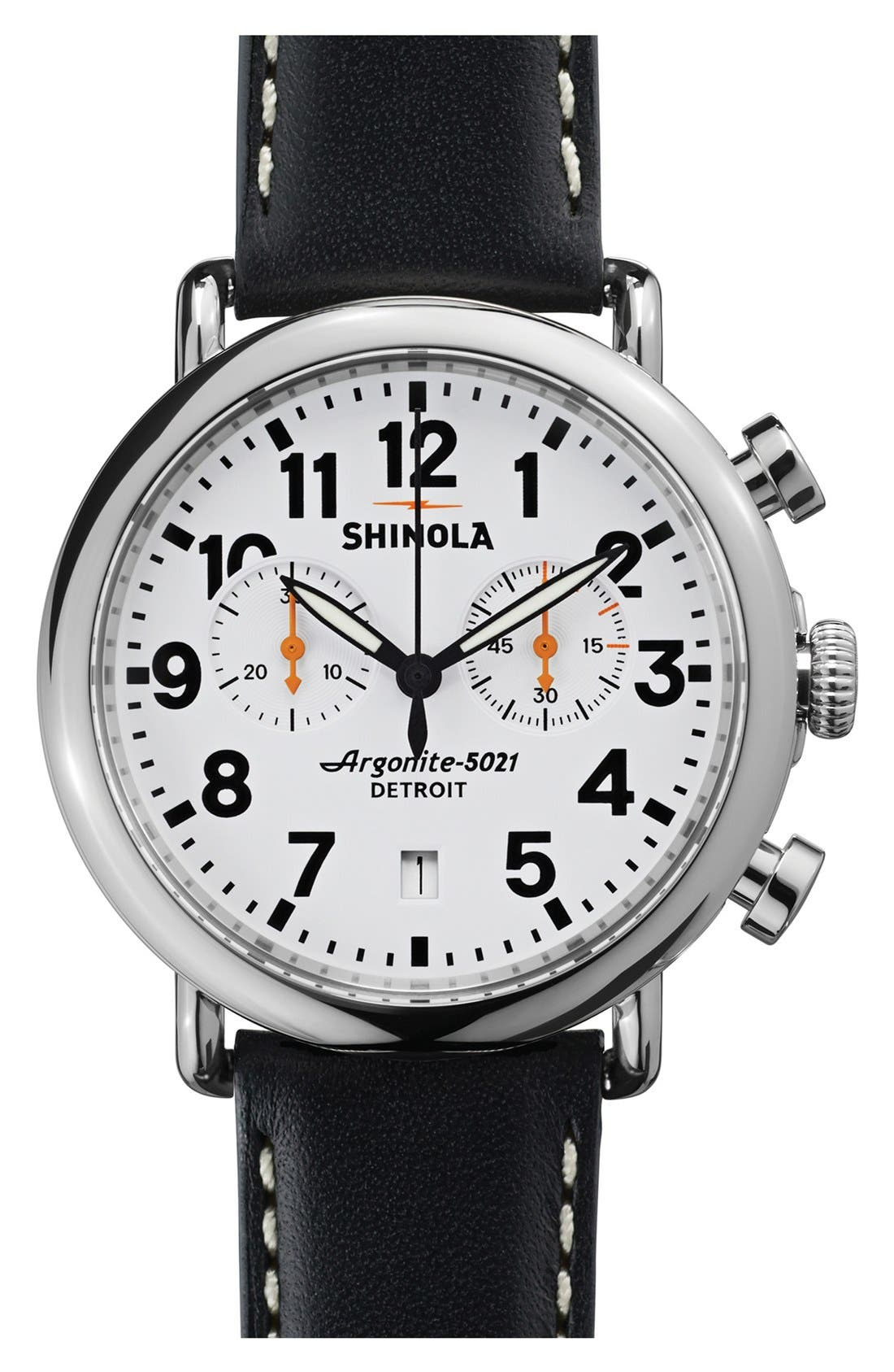 'The Runwell Chrono' Leather Strap Watch, 41mm,                         Main,                         color, 001
