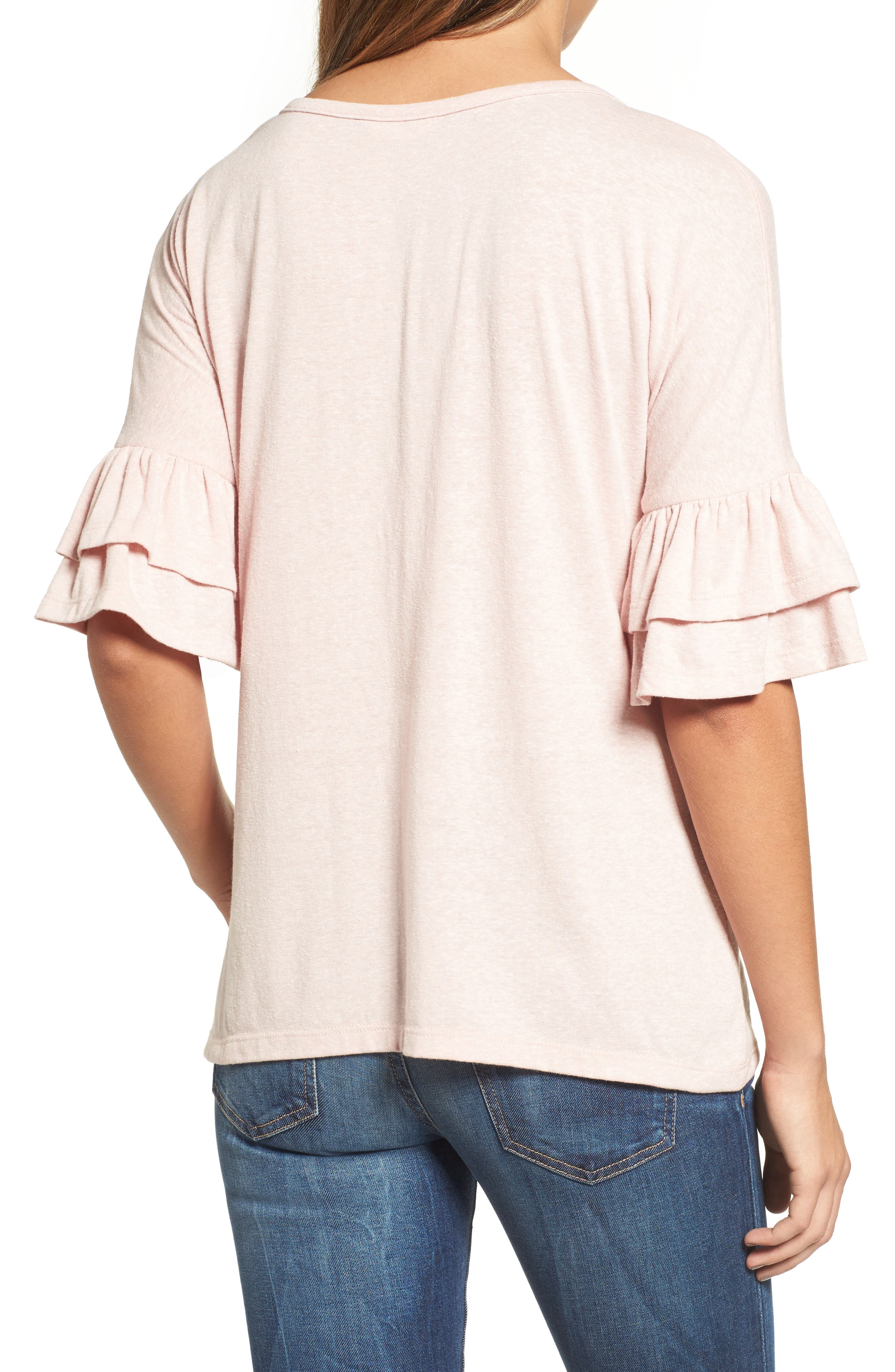 Tiered Bell Sleeve Tee,                             Alternate thumbnail 16, color,