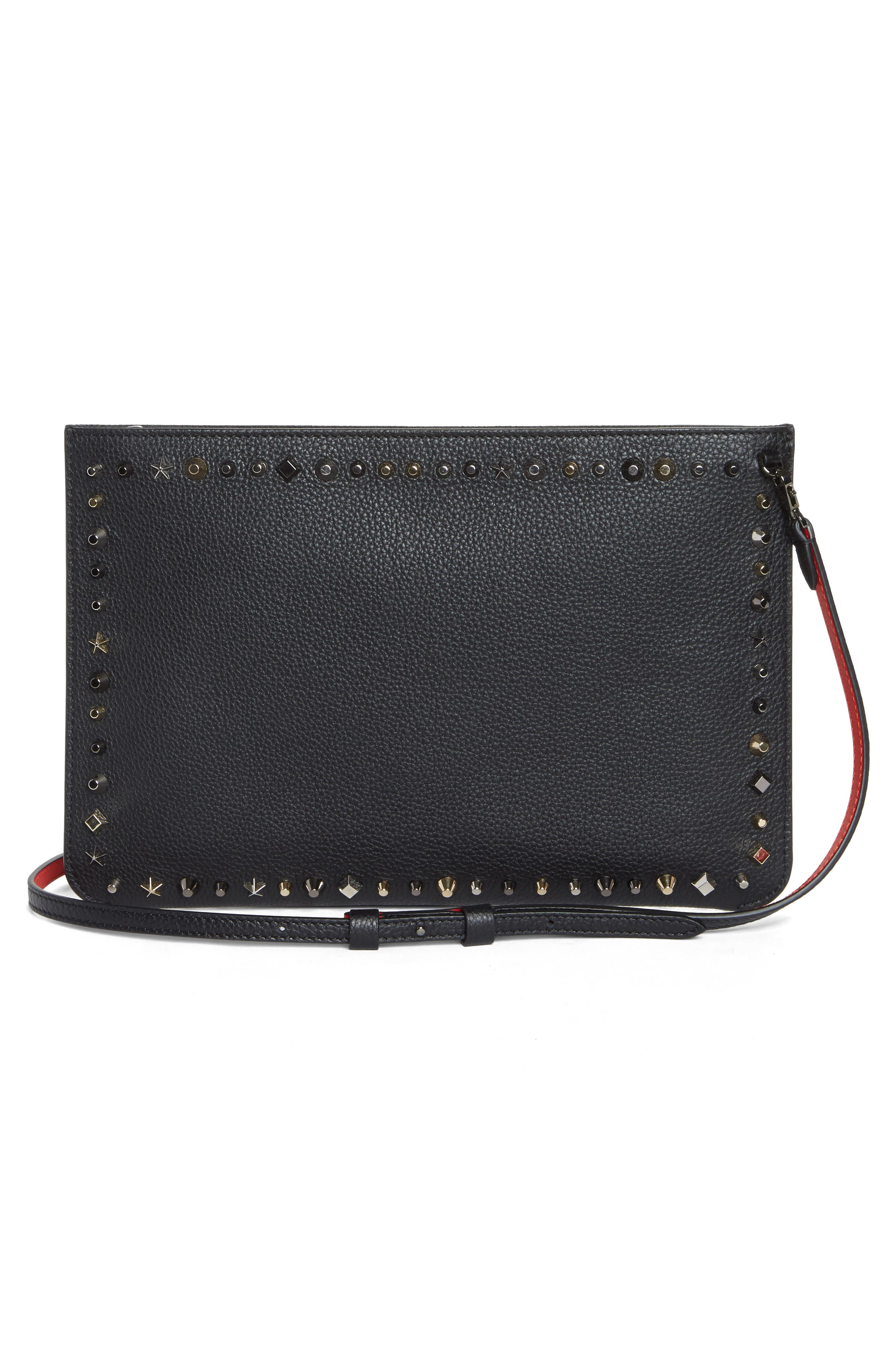 Loubiclutch Spiked Leather Clutch,                             Alternate thumbnail 2, color,                             BLACK/ MULTIMETAL