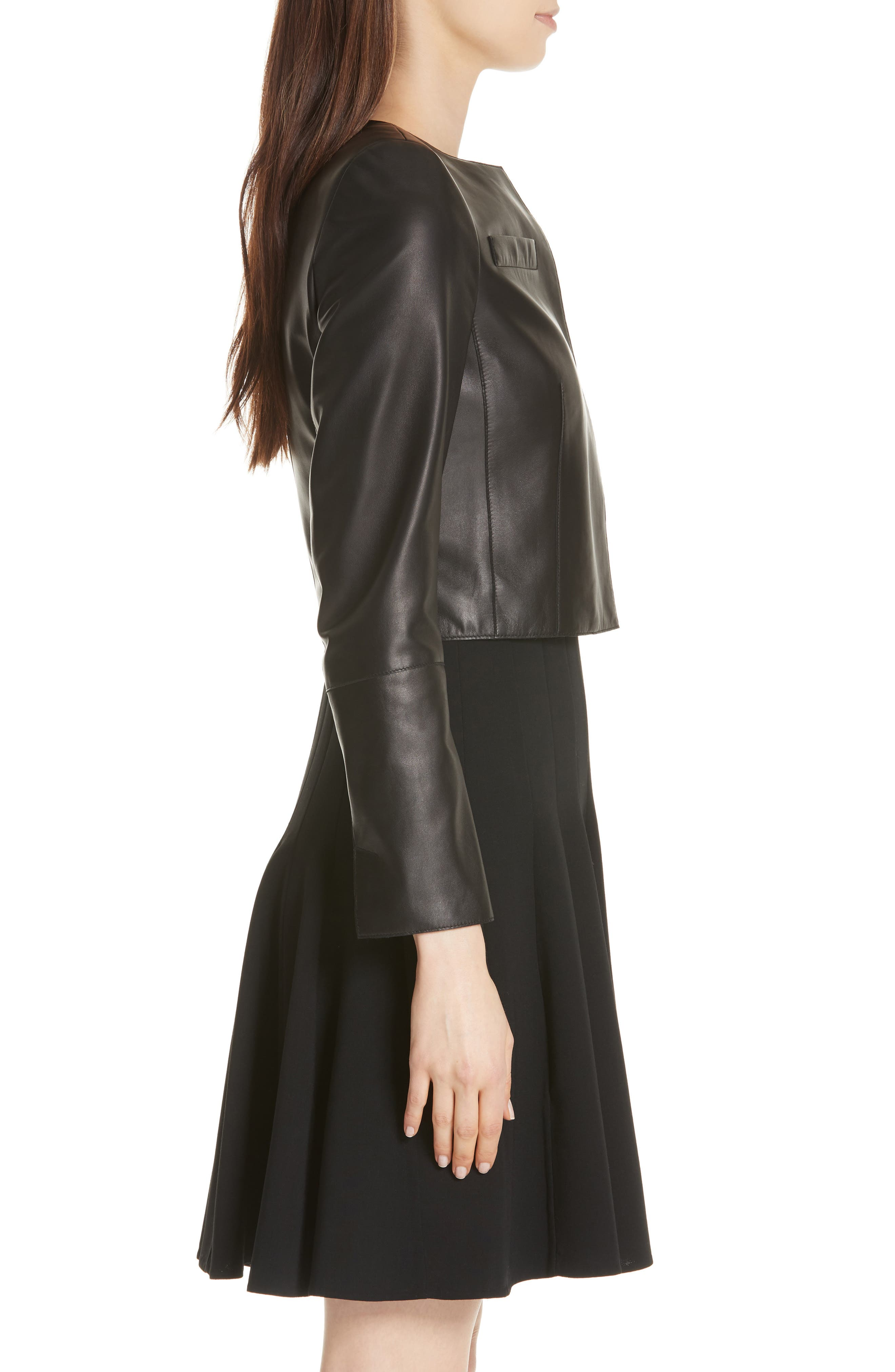 'Hasso' Leather Crop Jacket,                             Alternate thumbnail 4, color,                             BLACK