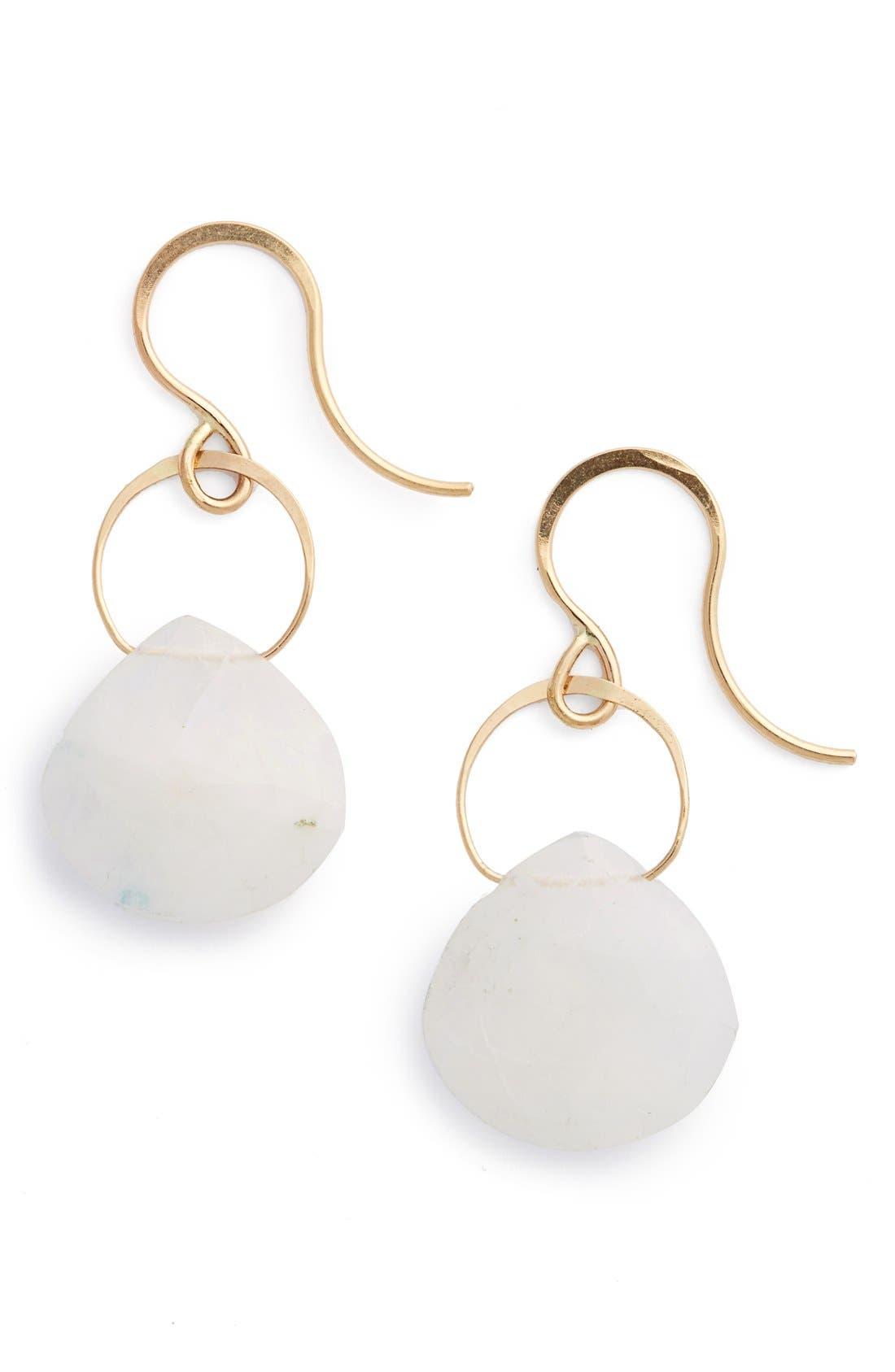 Semiprecious Stone Drop Earrings,                             Main thumbnail 1, color,                             LABRADORITE/ YELLOW GOLD