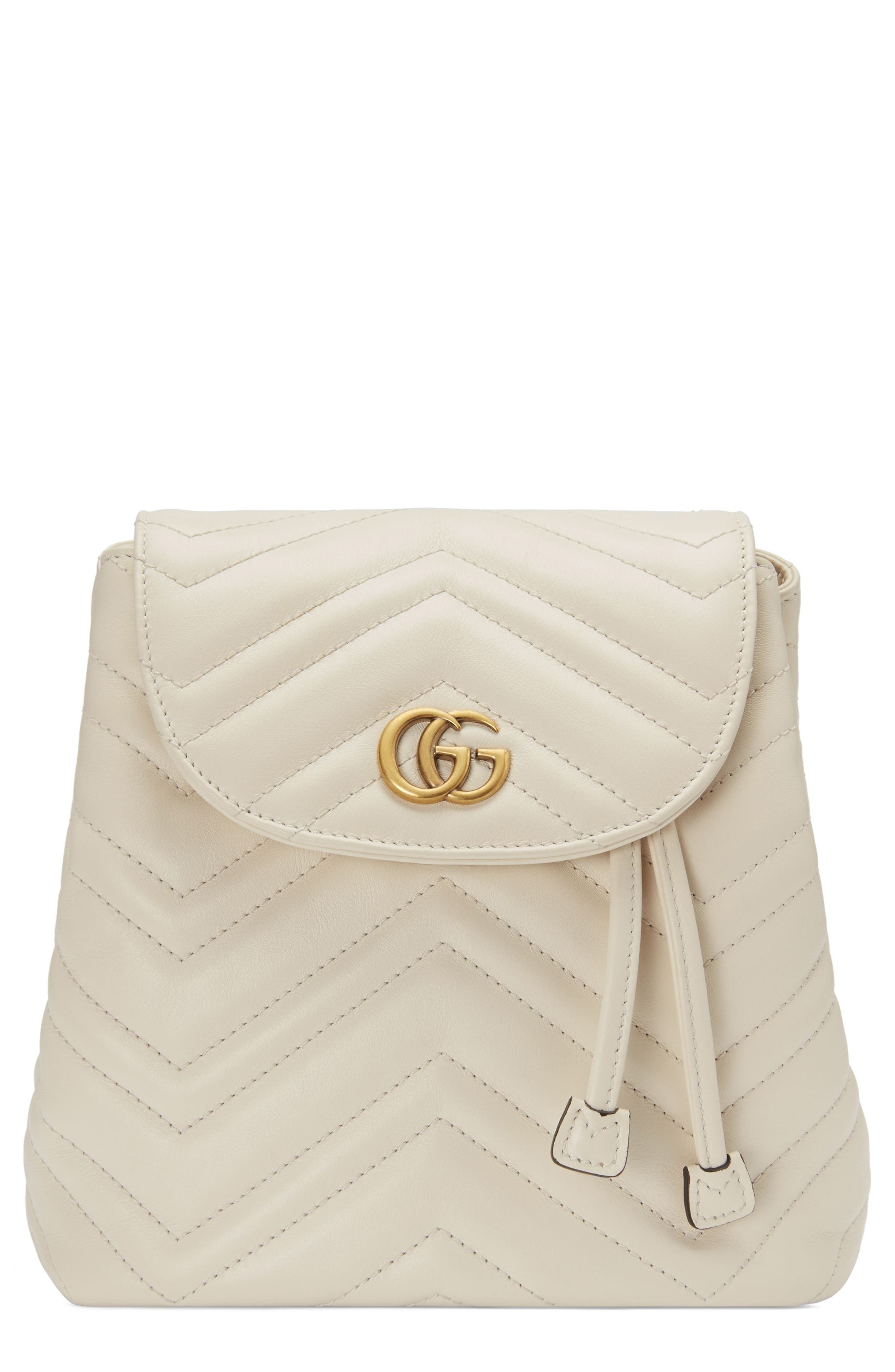 GG Marmont 2.0 Matelassé Leather Mini Backpack,                         Main,                         color, MYSTIC WHITE