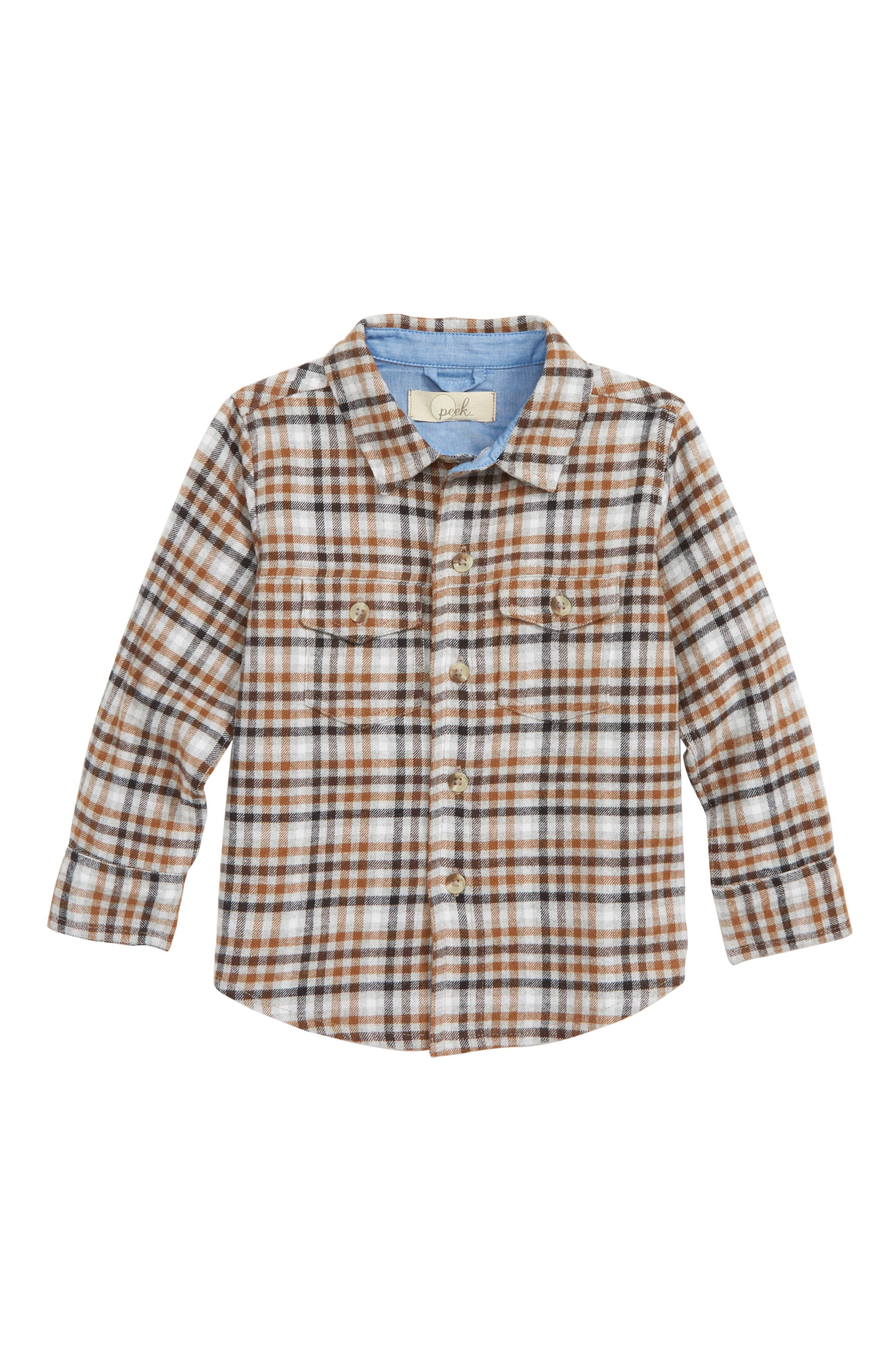 Toddler Boys Peek Tristan Plaid Flannel Shirt Size 3T  Brown