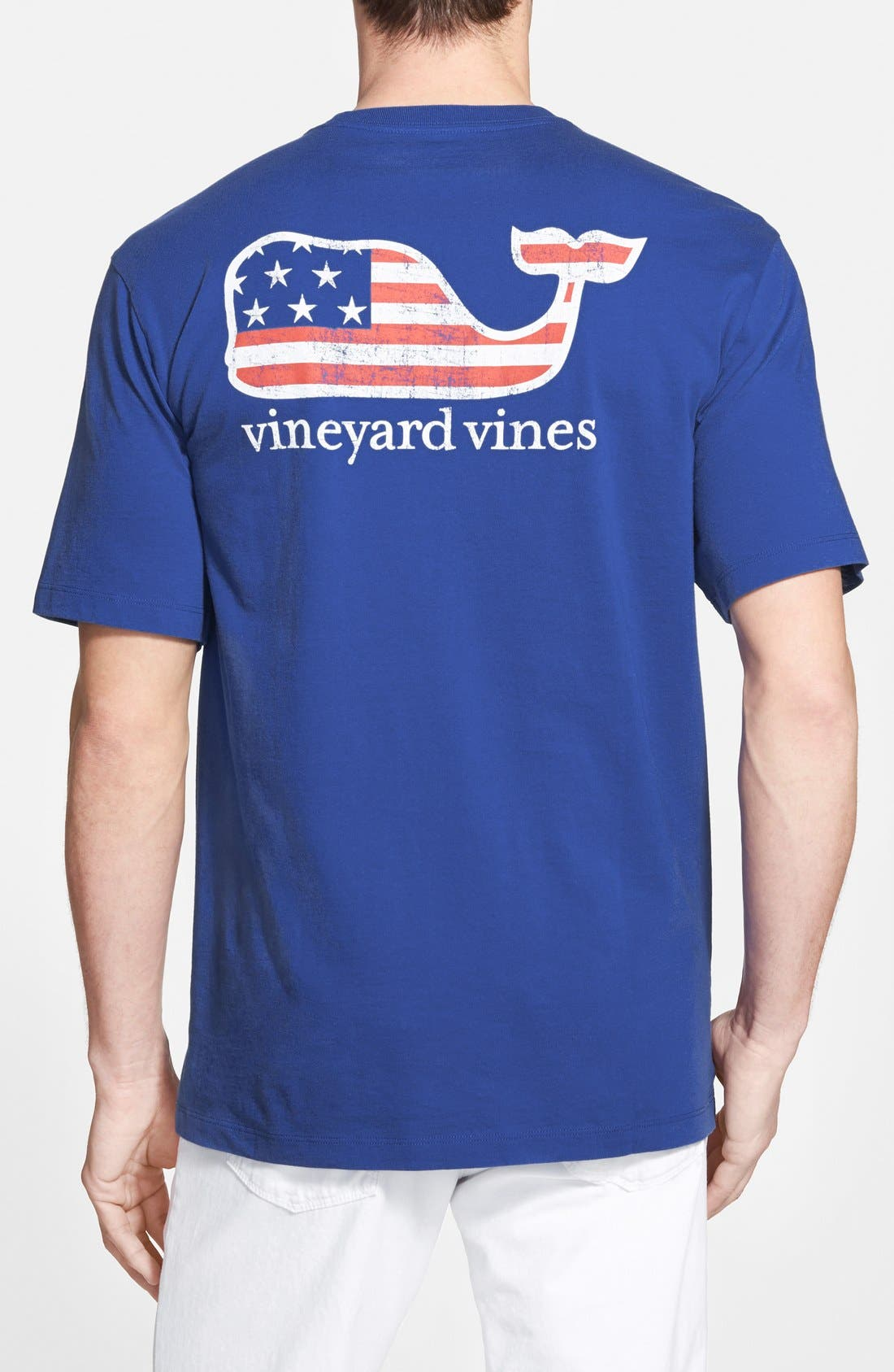 American Flag Whale Graphic T-Shirt,                         Main,                         color, AVIATOR BLUE
