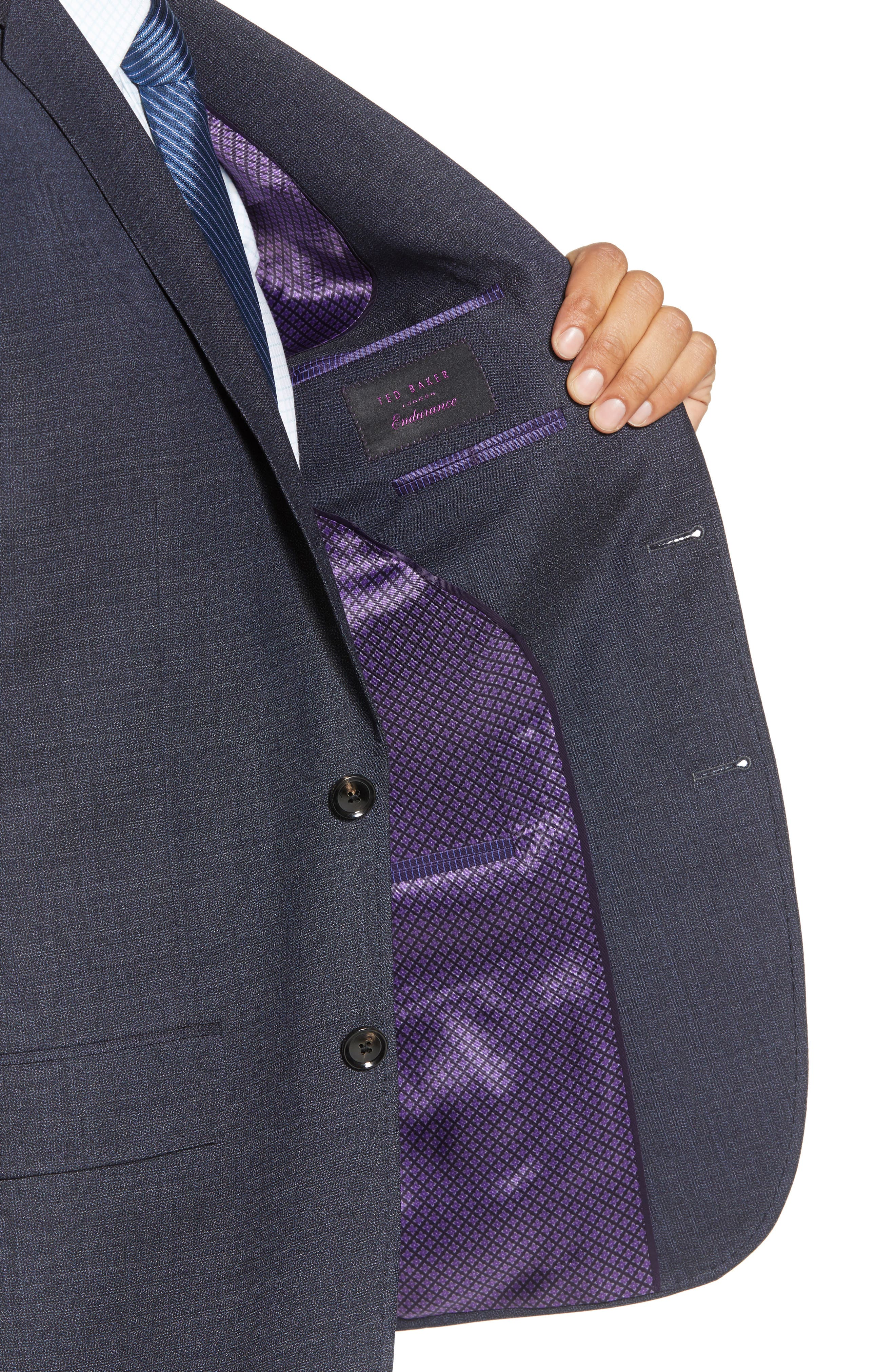 Jay Trim Fit Solid Wool Suit,                             Alternate thumbnail 4, color,                             020