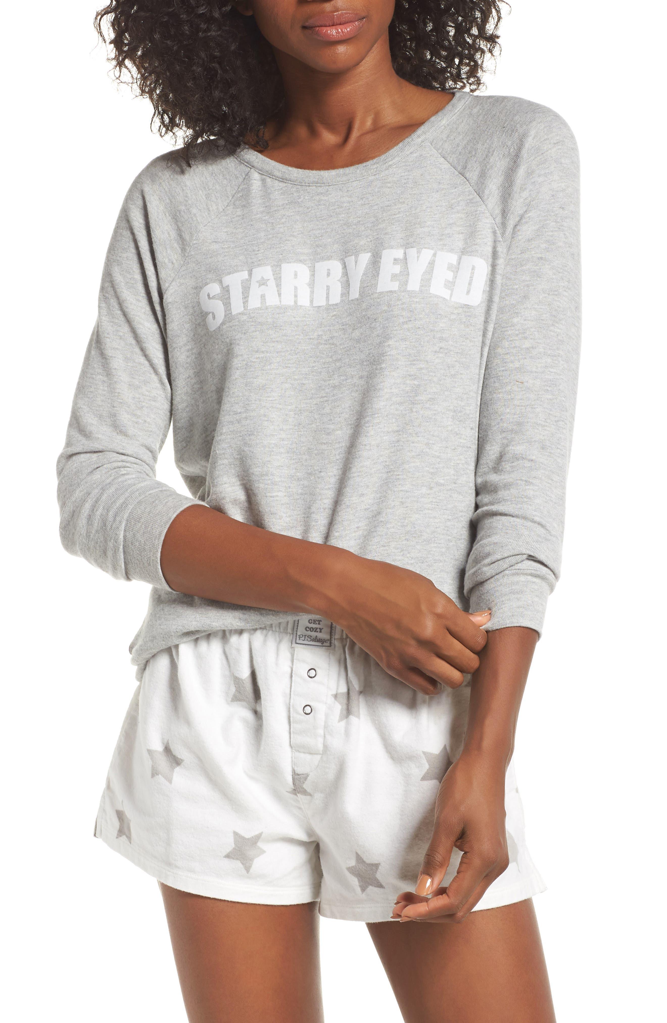 PJ SALVAGE Print Flannel Short Pajamas in Ivory