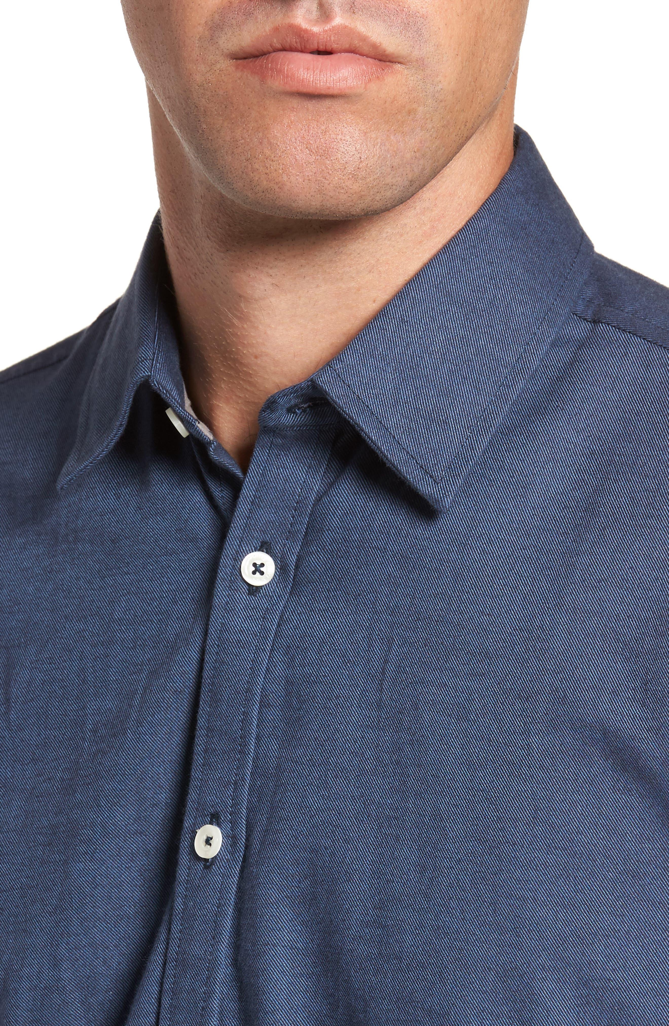Slim Fit Solid Sport Shirt,                             Alternate thumbnail 4, color,