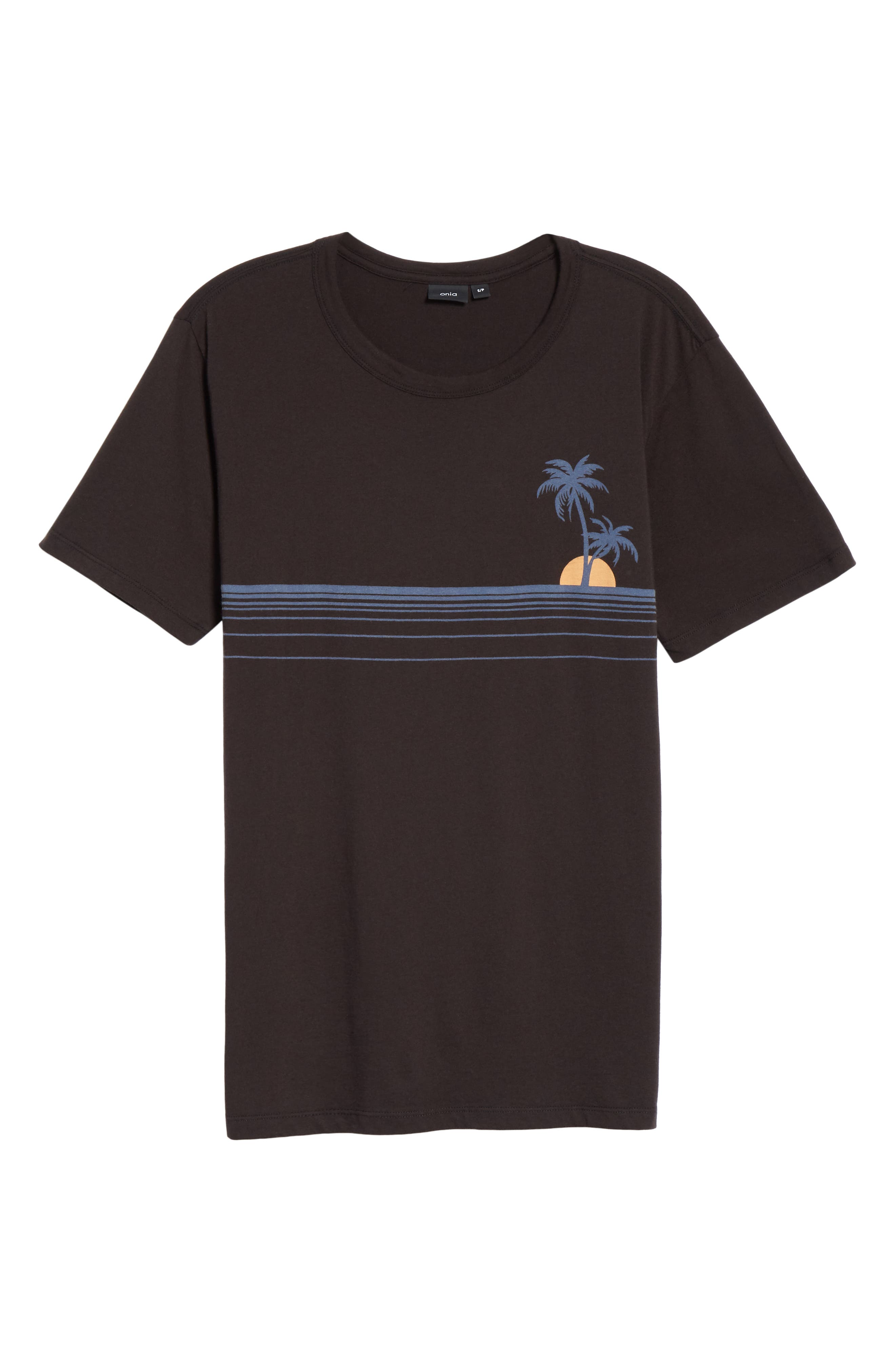 Johnny Chest Palm Stripe Graphic T-Shirt,                             Alternate thumbnail 6, color,                             BLACK