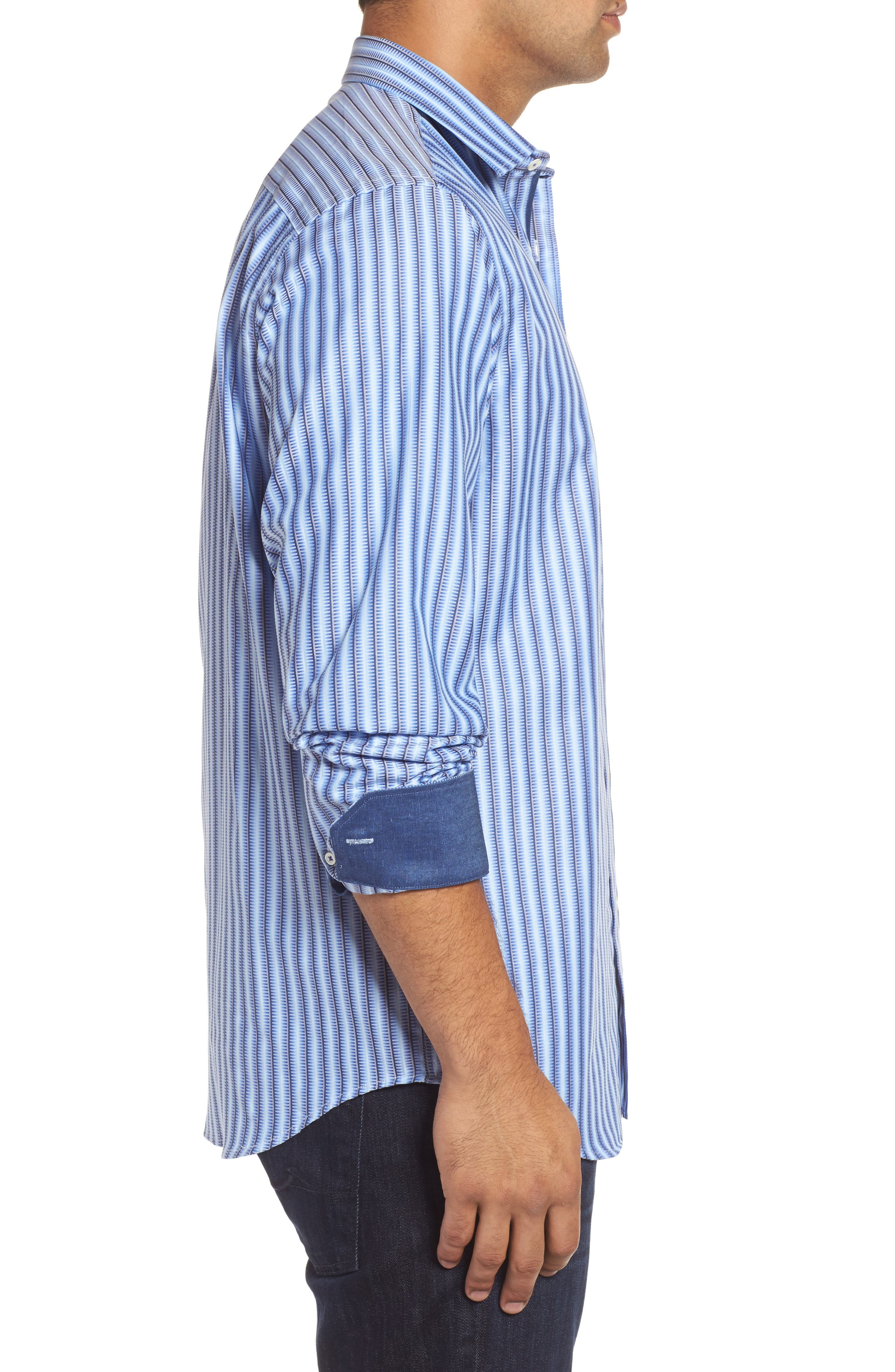 Classic Fit Striped Sport Shirt,                             Alternate thumbnail 3, color,                             459