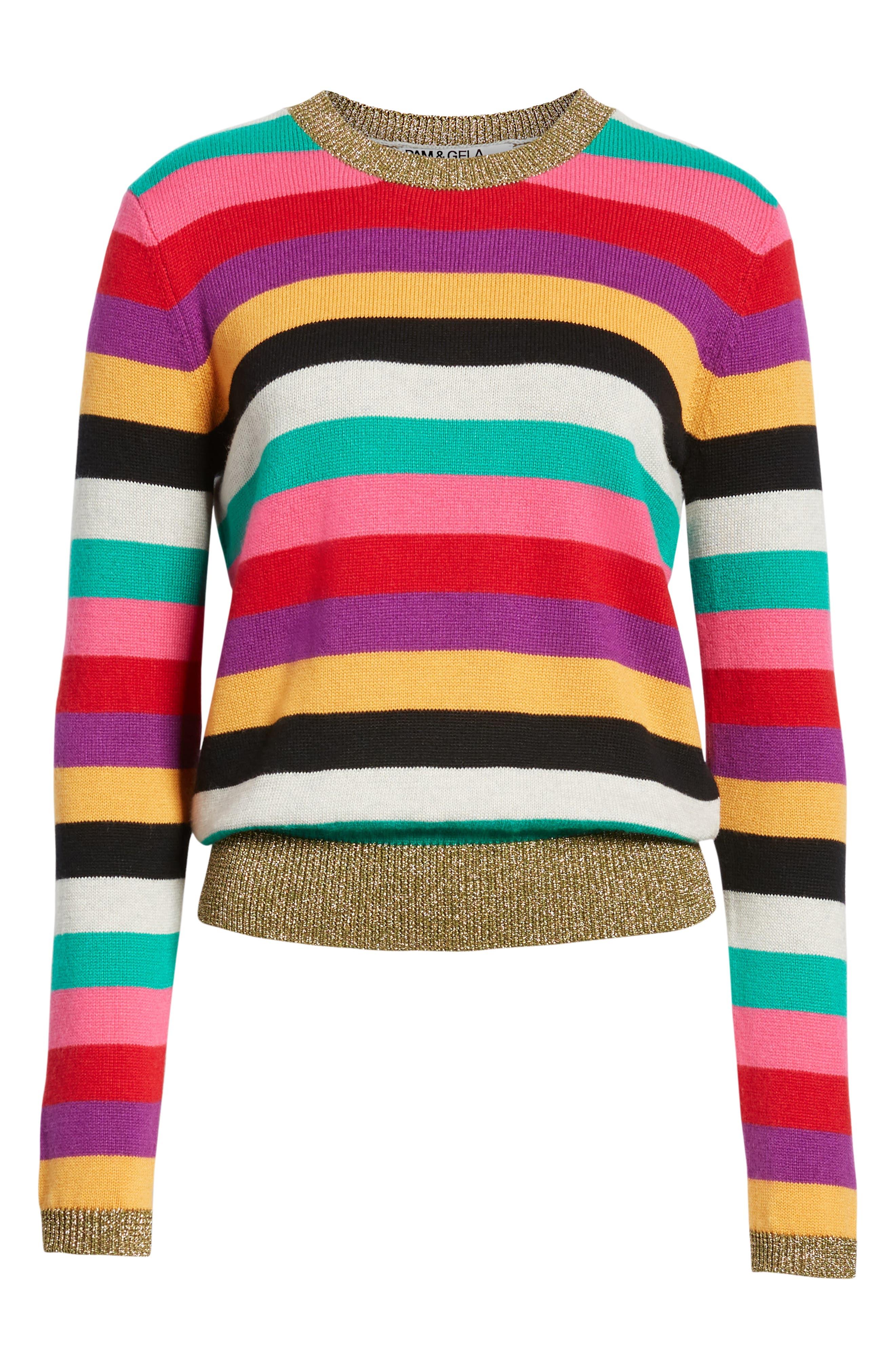 Stripe Metallic Trim Sweater,                             Alternate thumbnail 6, color,                             MULTICOLOR