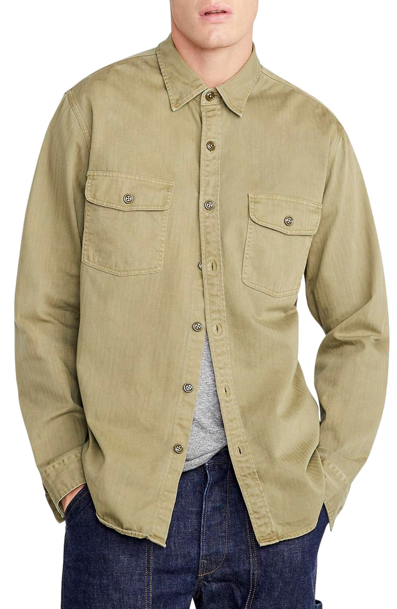 Wallace & Barnes Two-Pocket Workshirt,                         Main,                         color, TUSCAN OLIVE