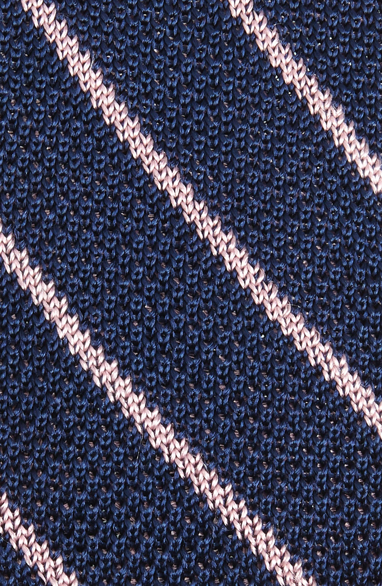 Stripe Knit Silk Tie,                             Alternate thumbnail 2, color,                             NAVY